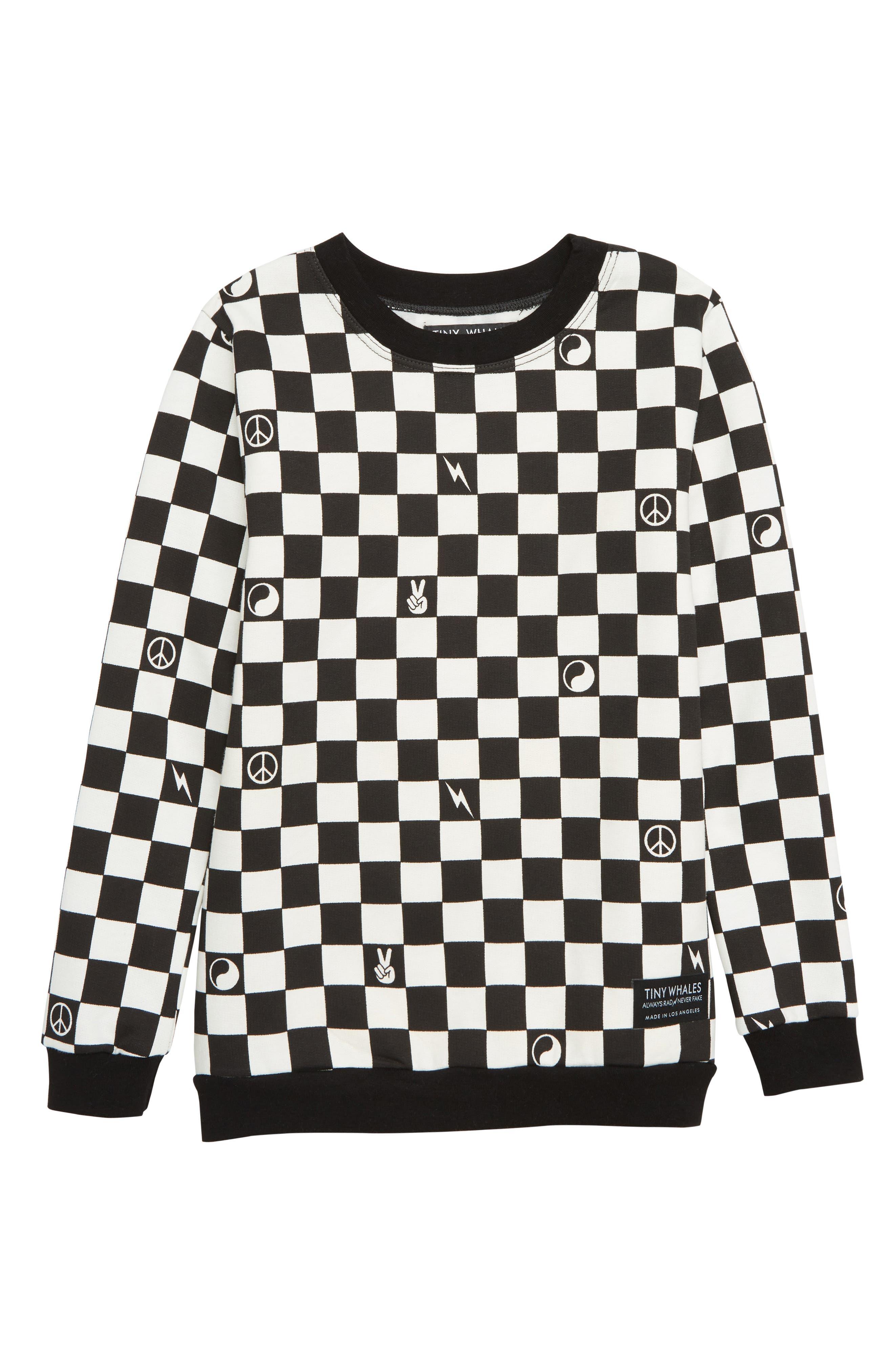 TINY WHALES,                             Checker Sweatshirt,                             Main thumbnail 1, color,                             BLACK/ WHITE