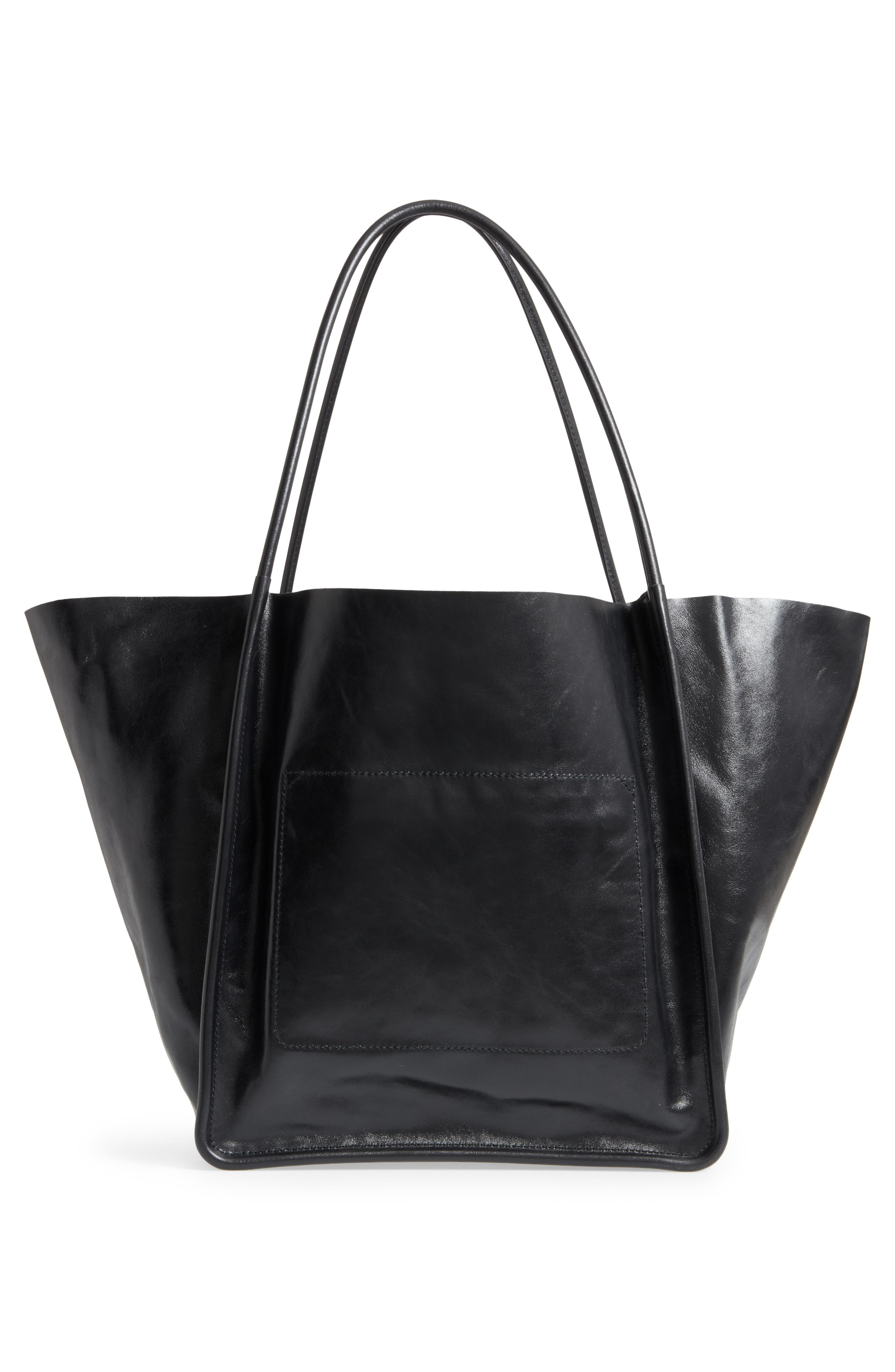 Extra Large Leather Tote,                             Alternate thumbnail 3, color,                             BLACK