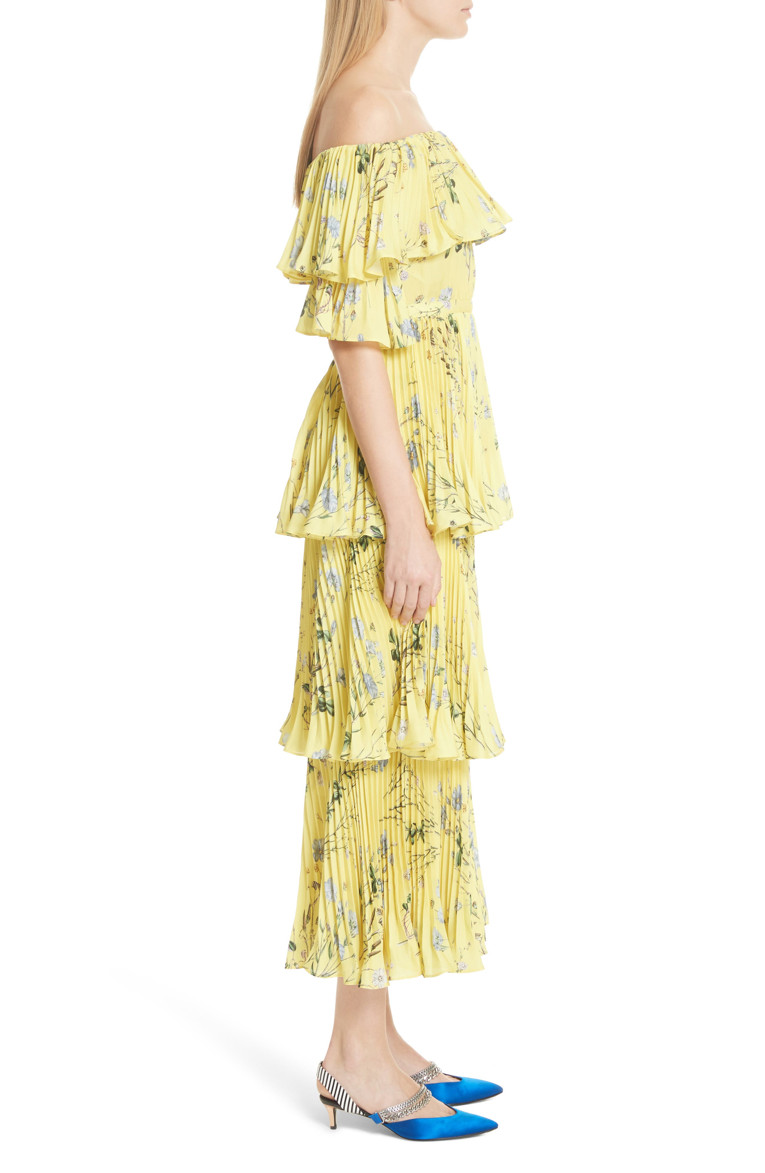 Floral Pleated Tiered Dress,                             Alternate thumbnail 3, color,                             700