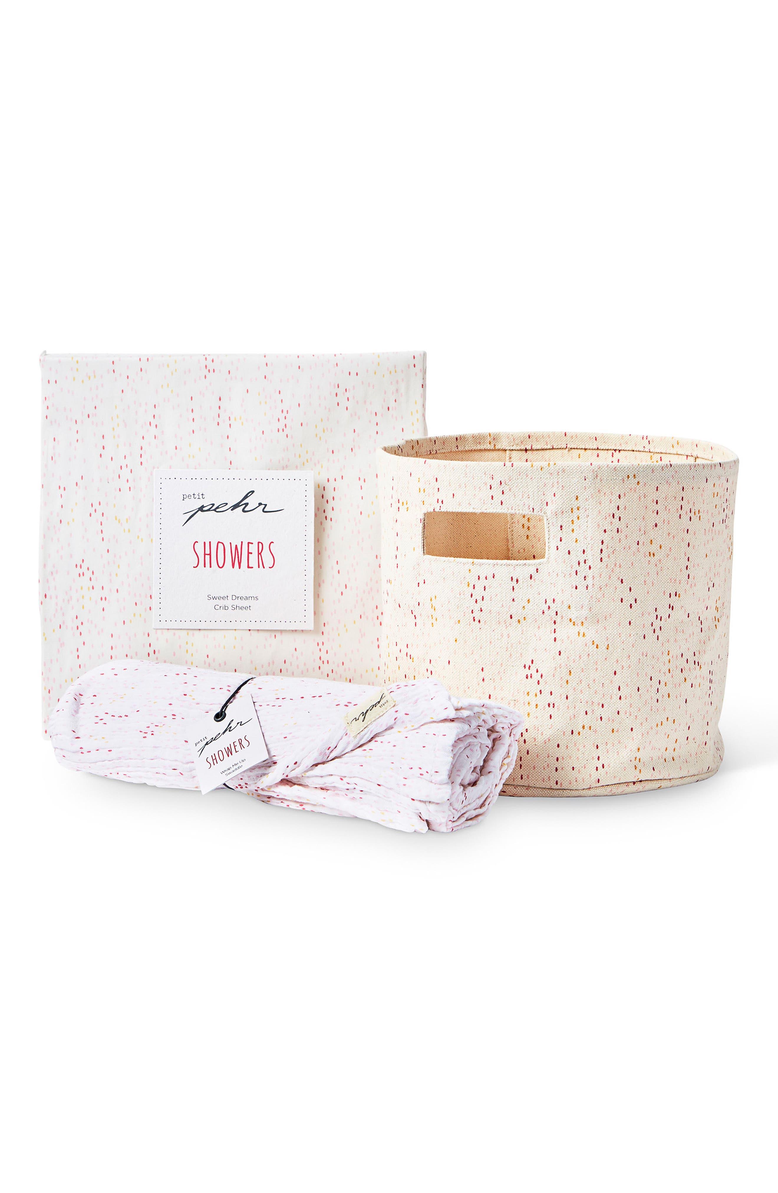 Showers Crib Sheet, Swaddle & Mini Canvas Bin Set,                         Main,                         color, 650