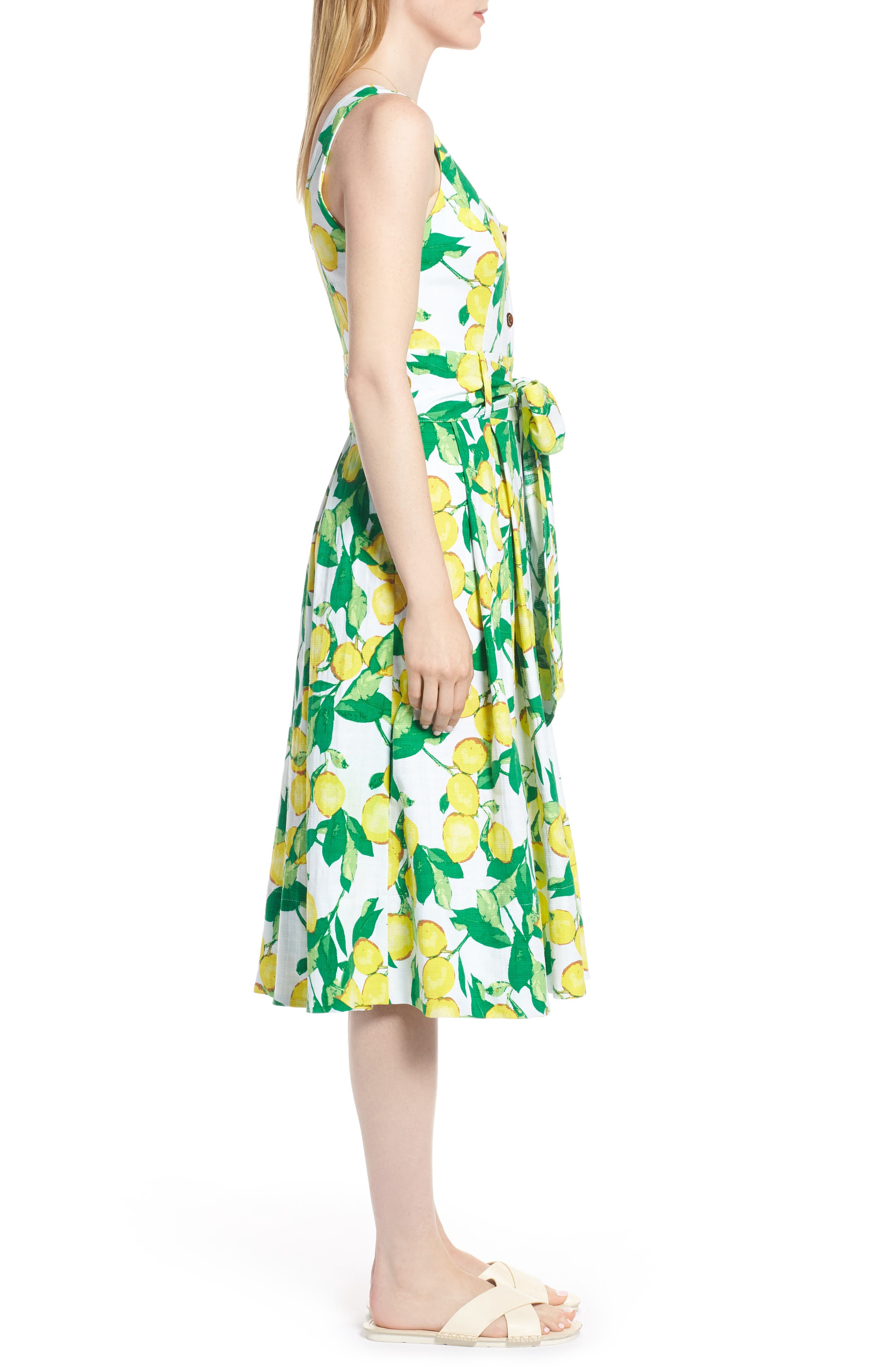 Button Front Lemon Print Dress,                             Alternate thumbnail 3, color,                             700