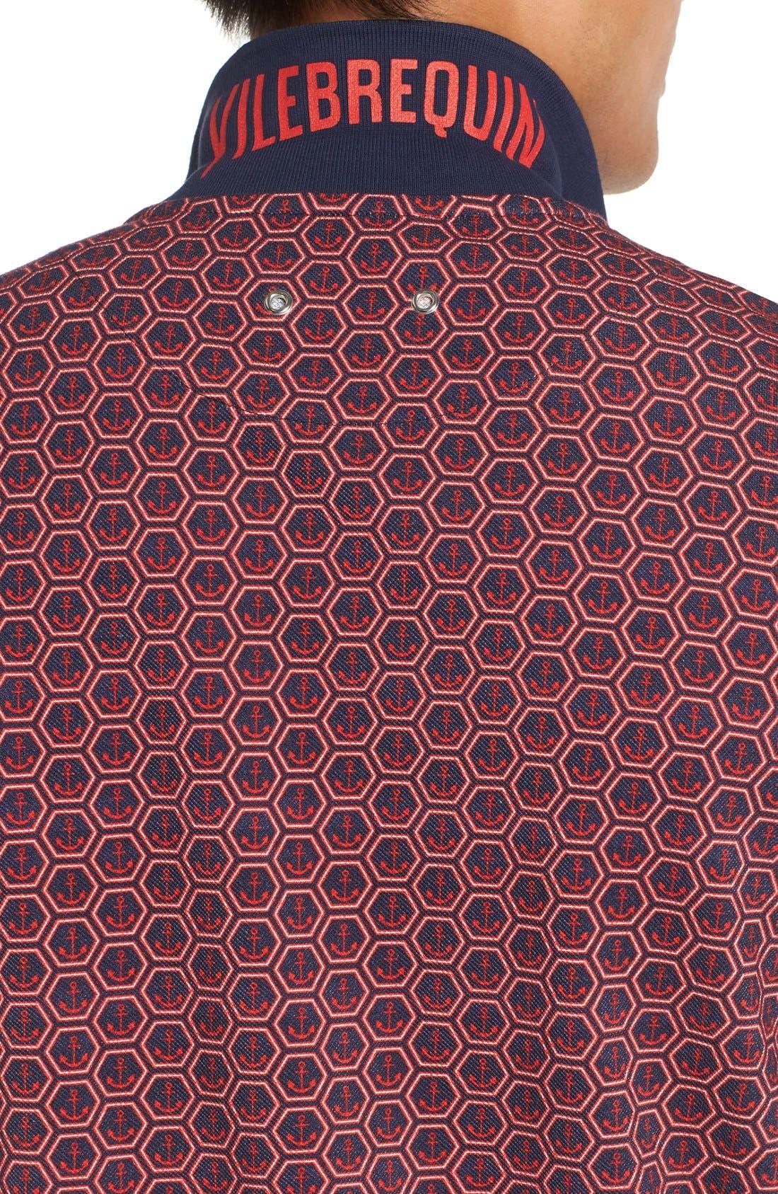 Anchor Piqué Cotton Polo,                             Alternate thumbnail 4, color,                             NAVY