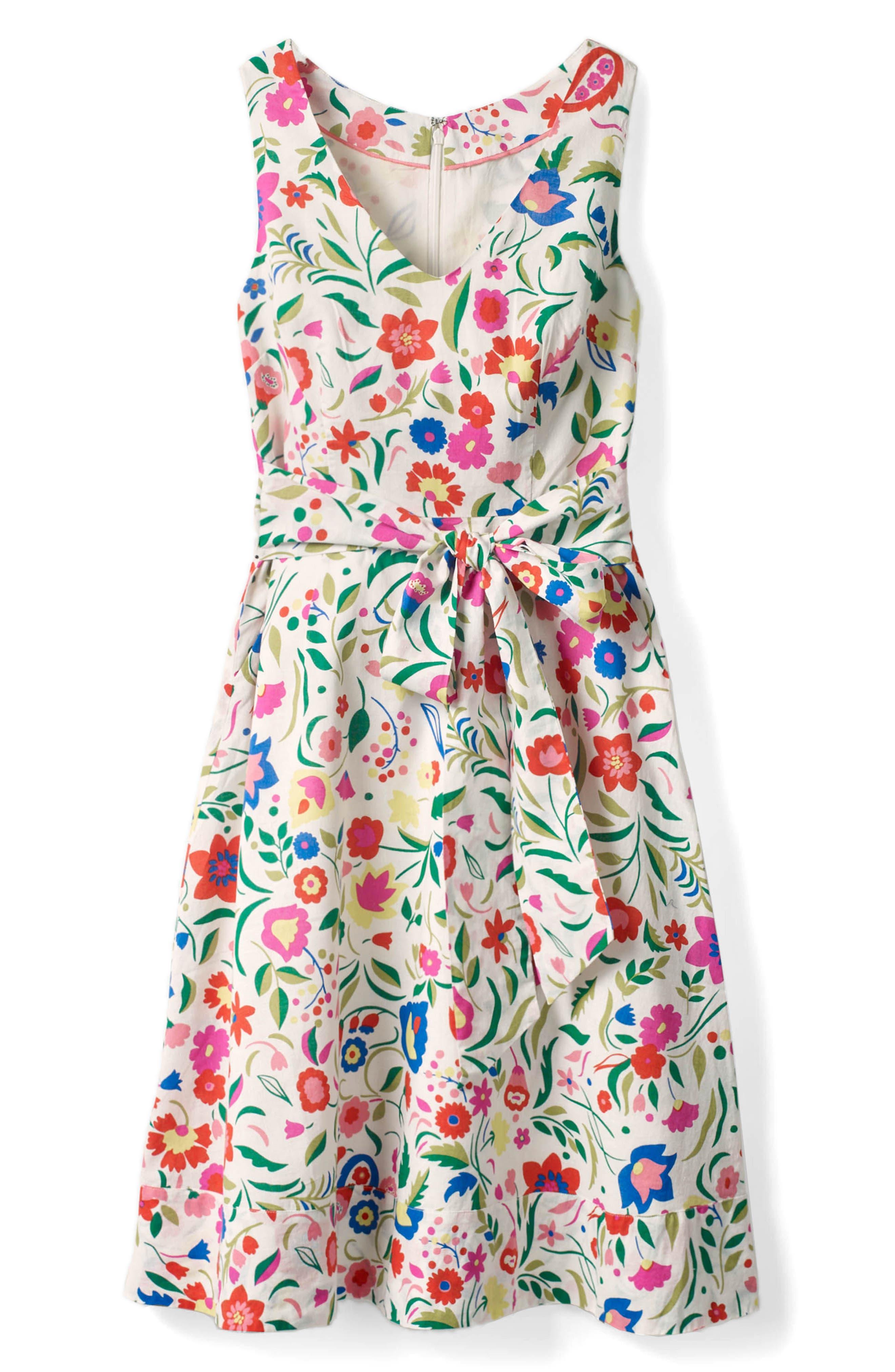 Jade Fit & Flare Linen Cotton Dress,                             Alternate thumbnail 10, color,
