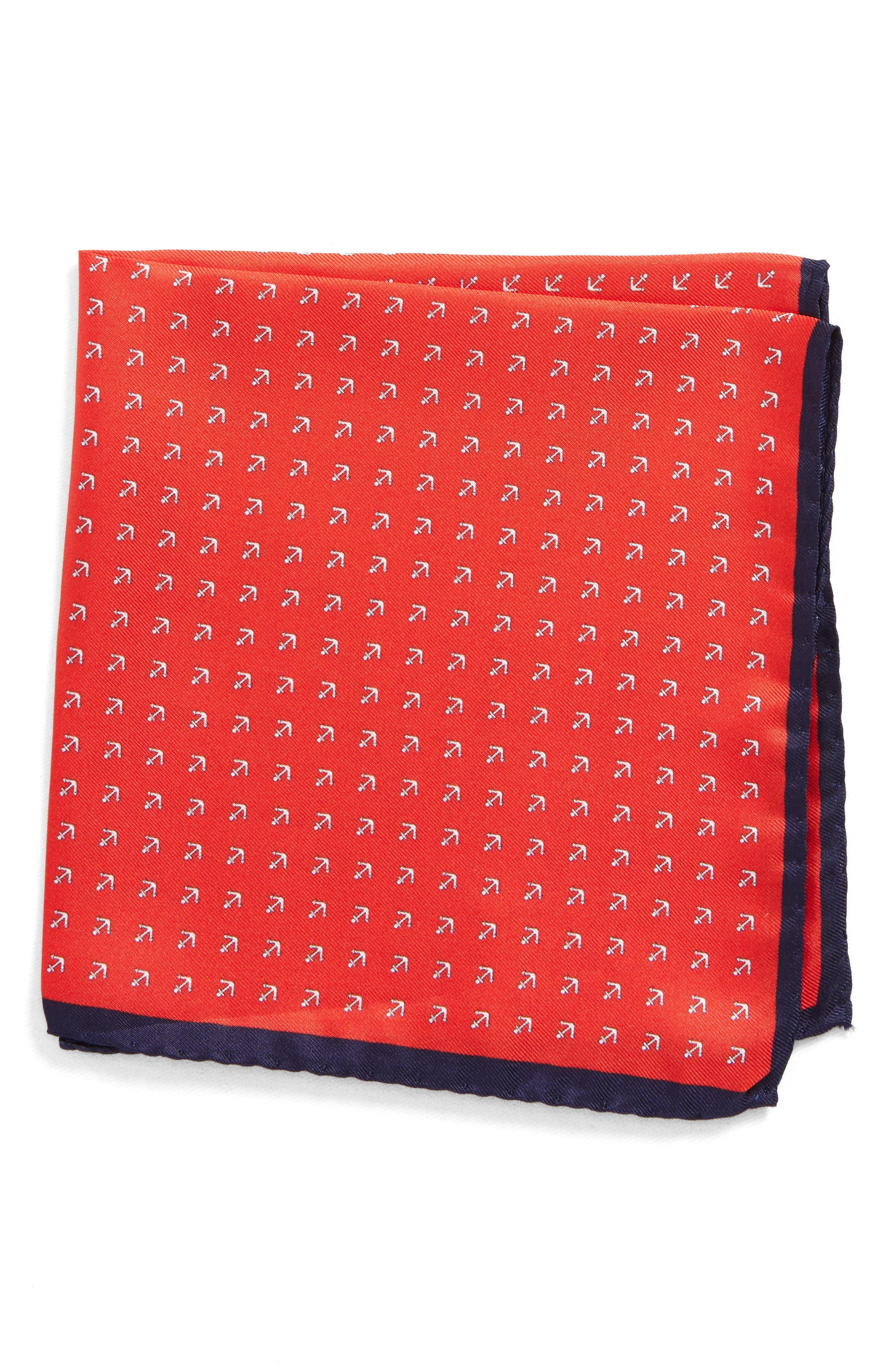 Anchorman Silk Pocket Square,                             Main thumbnail 1, color,                             NAVY/ RED