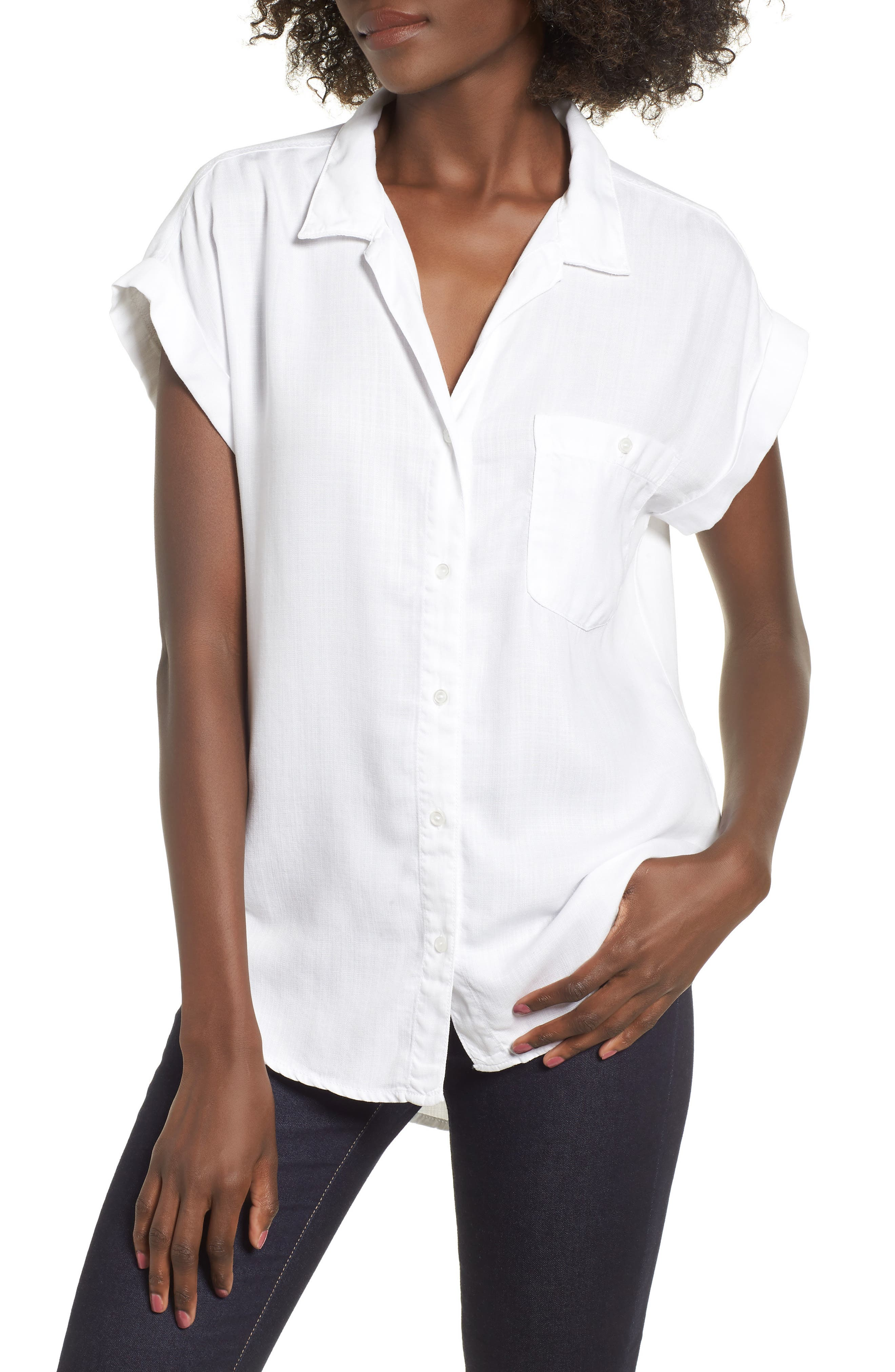 Cap Sleeve Shirt,                         Main,                         color, WHITE