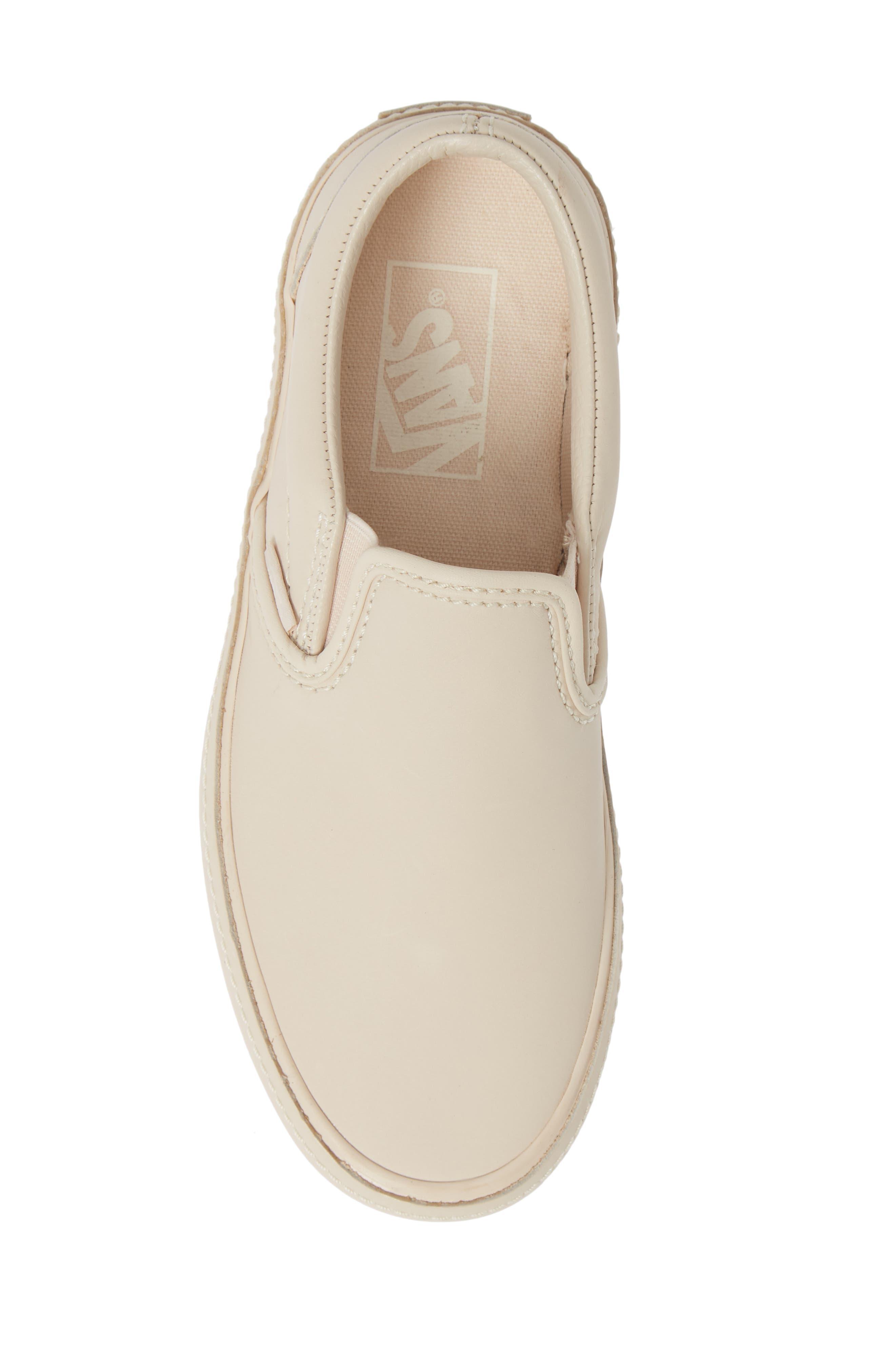 VANS,                             Classic Leather Slip-On Sneaker,                             Alternate thumbnail 5, color,                             270