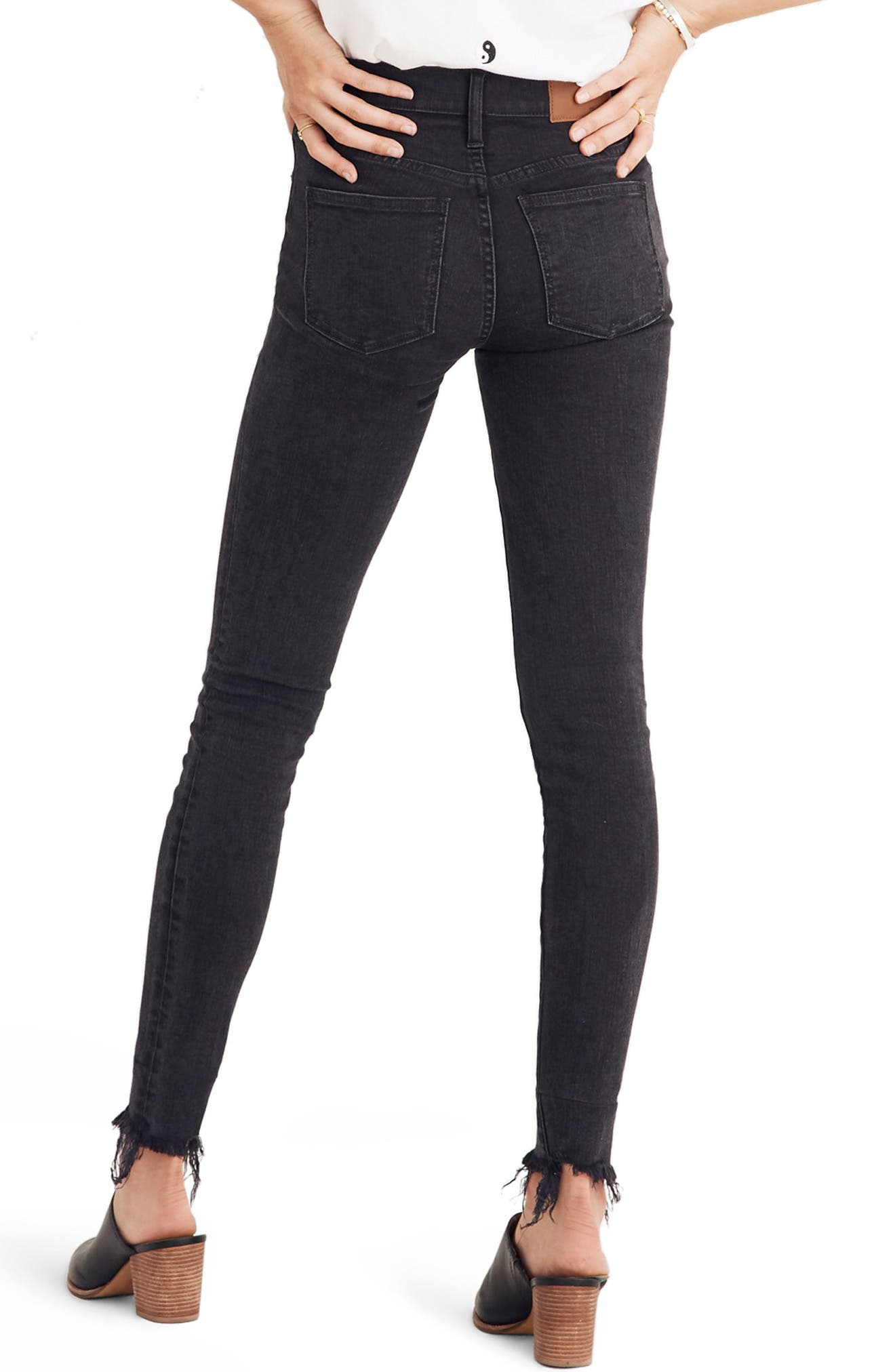 9-Inch Button High Waist Ankle Skinny Jeans,                             Alternate thumbnail 3, color,                             BERKELEY WASH
