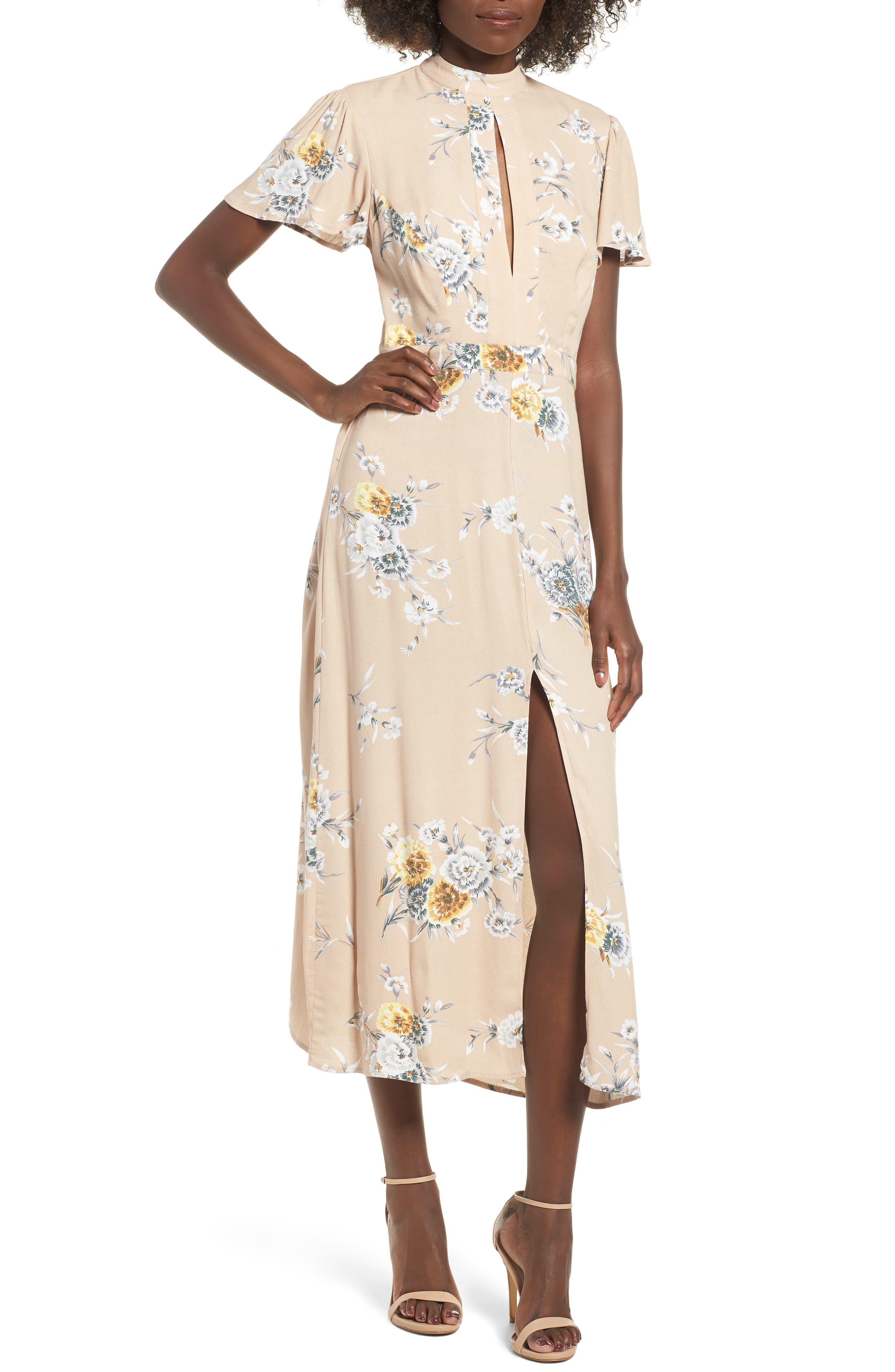 Aliana Tie Detail Dress,                             Main thumbnail 1, color,                             BEIGE BOUQUET