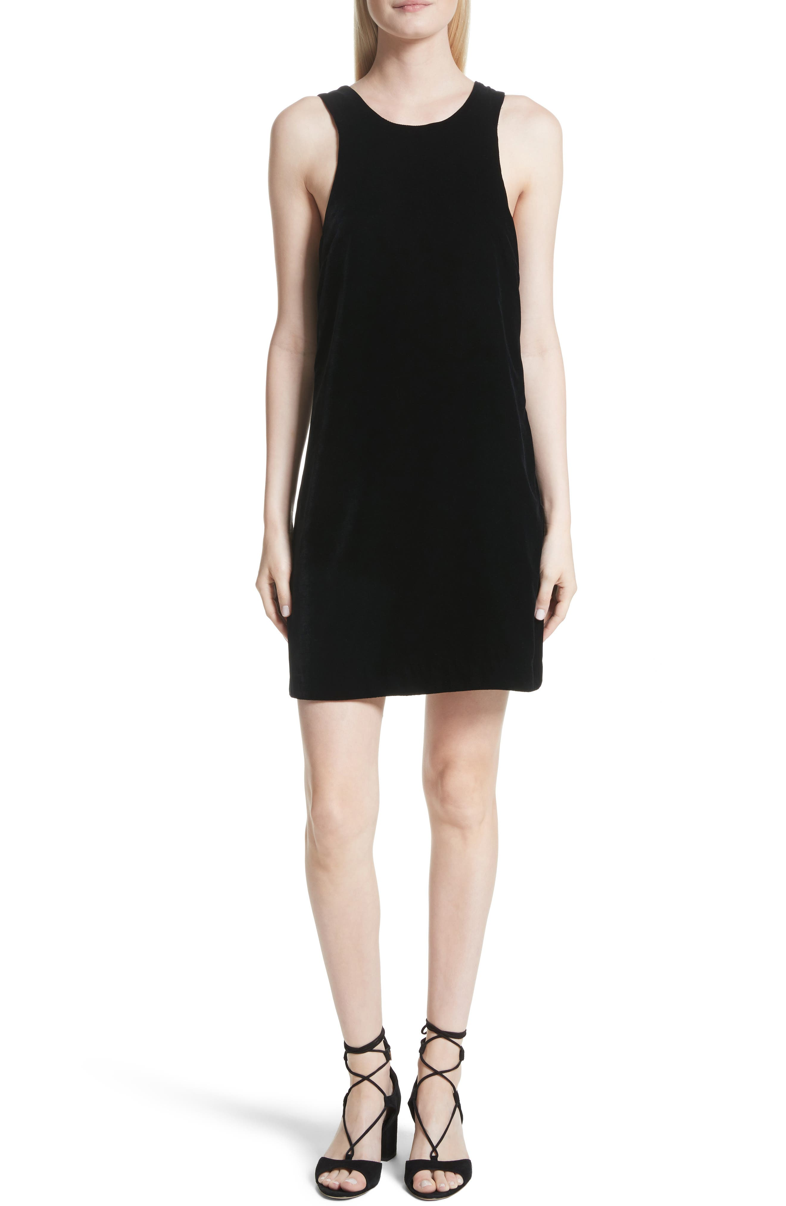 Pippin Velvet Strappy Back Dress,                         Main,                         color, 001