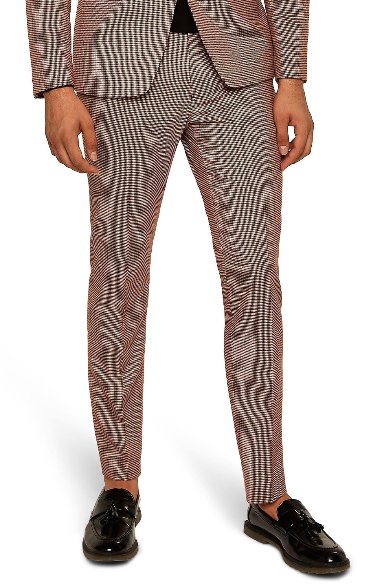Houndstooth Skinny Fit Trousers,                         Main,                         color, STONE