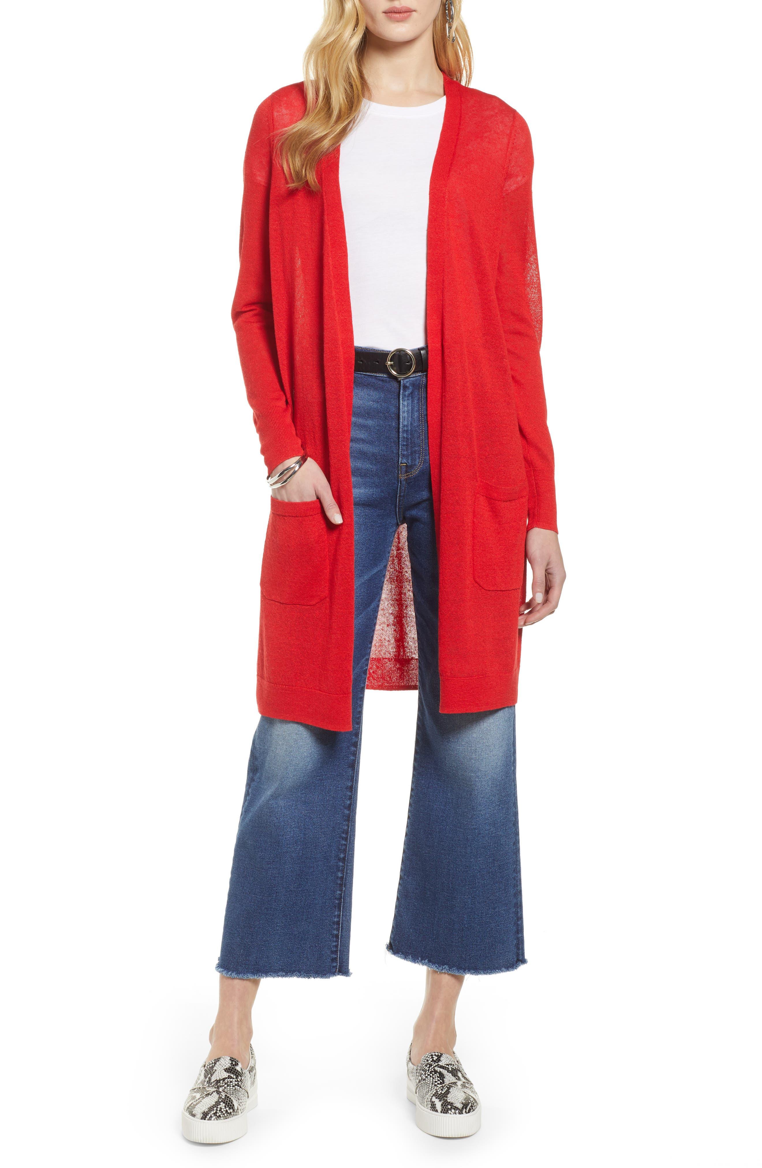Petite Halogen Long Linen Blend Cardigan, Red