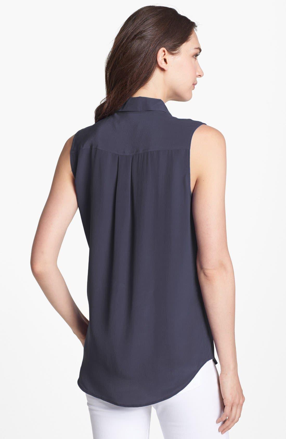 'Slim Signature' Sleeveless Silk Shirt,                             Alternate thumbnail 54, color,