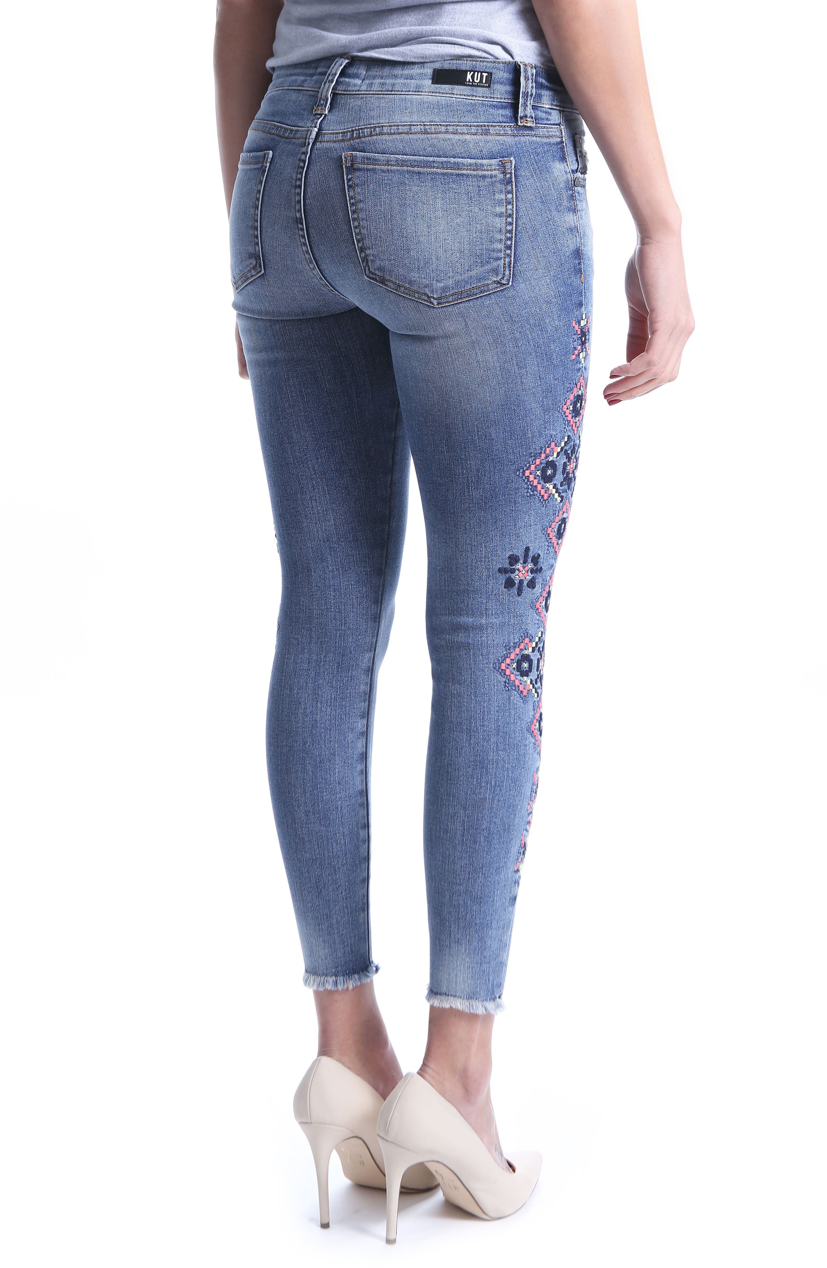 Connie Skinny Embroidered Ankle Jeans,                             Alternate thumbnail 2, color,