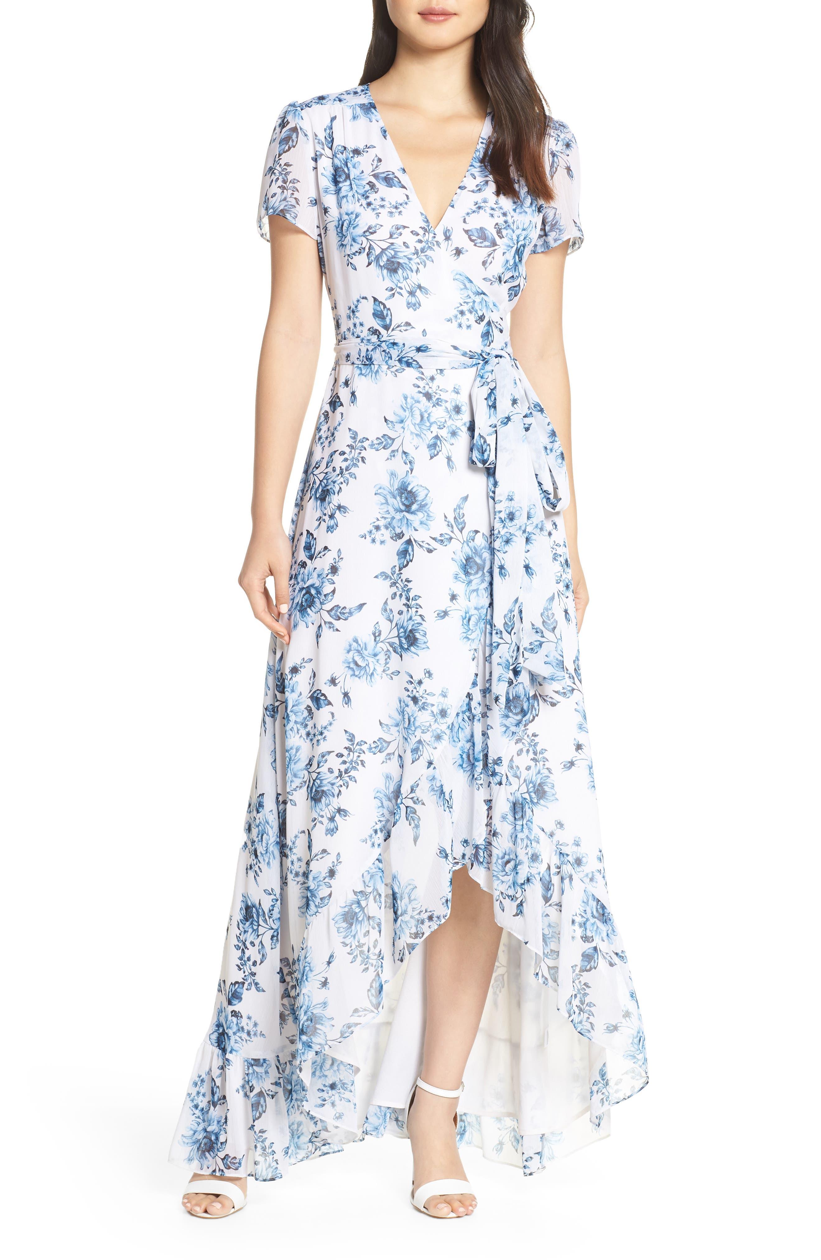 Wayf The Natasha Floral Wrap Maxi Dress, Blue