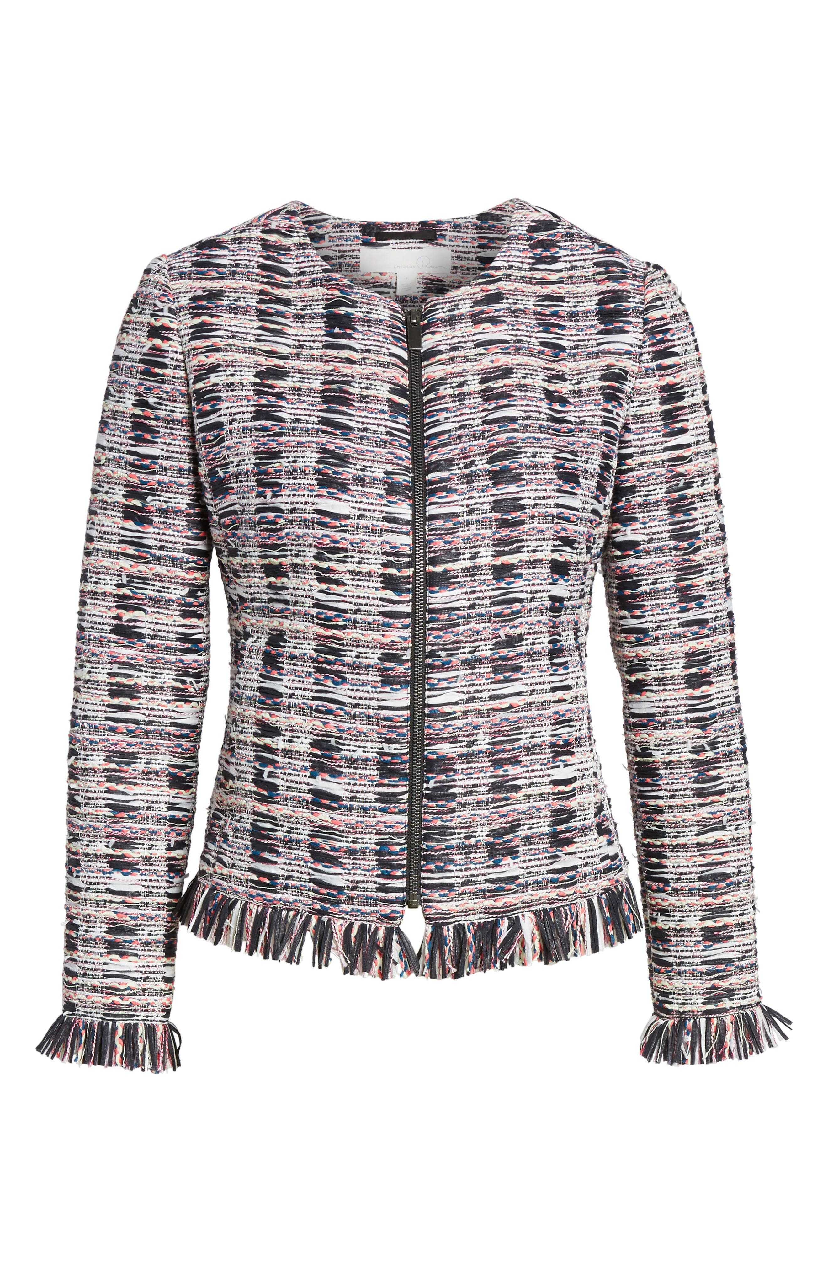Zip Front Tweed Jacket,                             Alternate thumbnail 6, color,