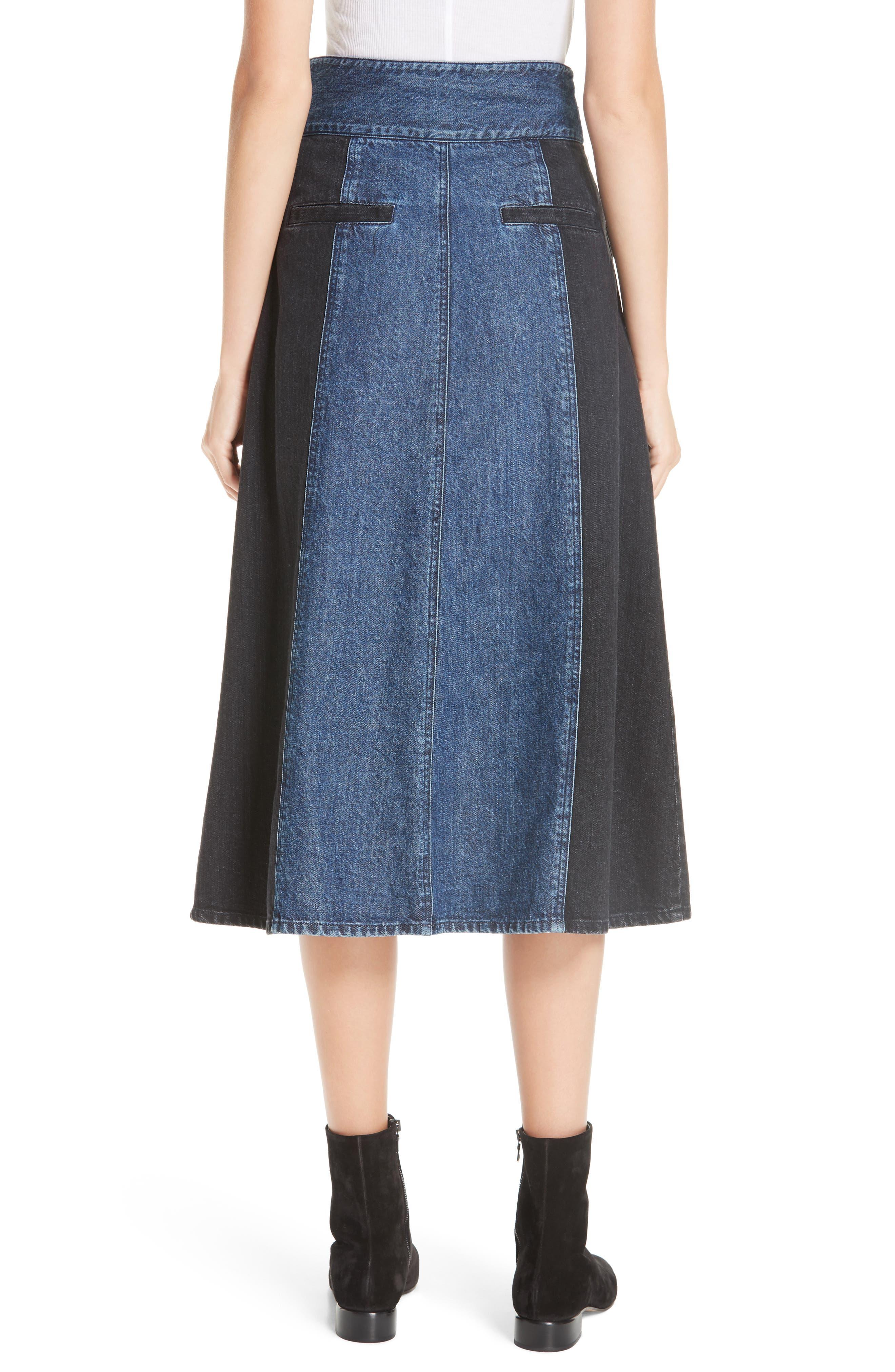 Bleu Bicolor Denim Midi Skirt,                             Alternate thumbnail 2, color,                             INDIGO/ BLACK