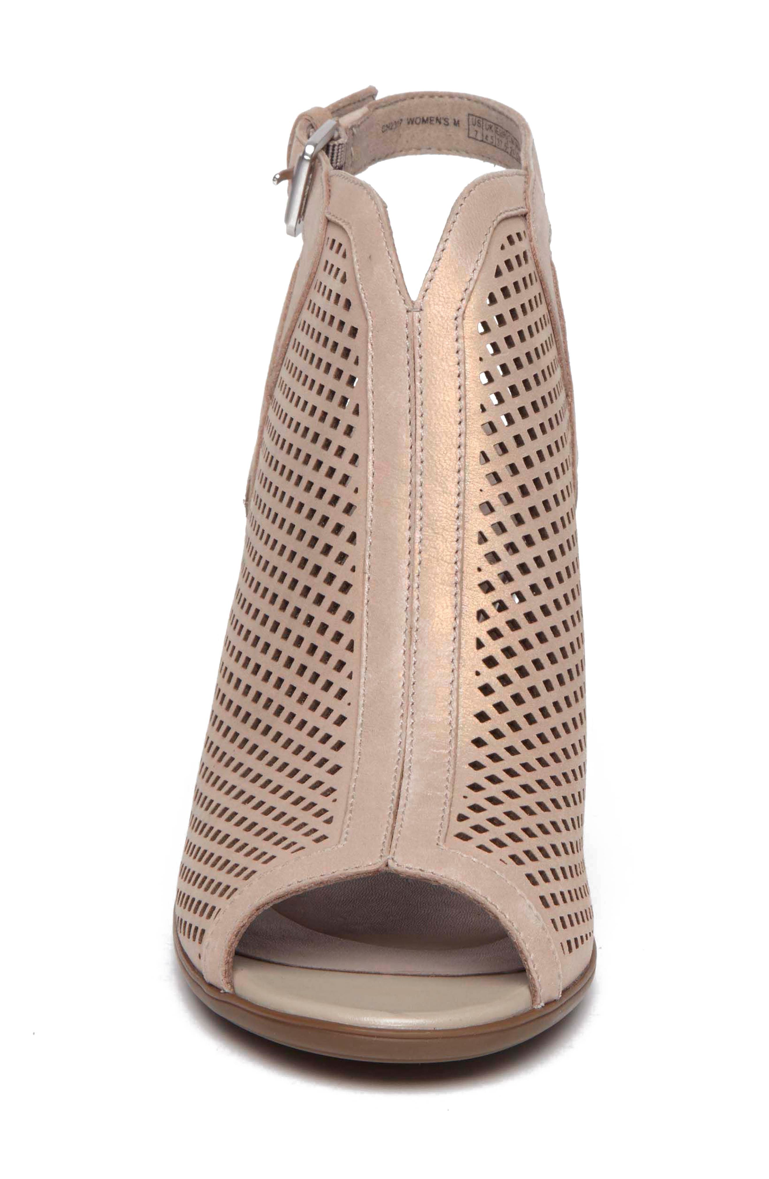 Total Motion Luxe Perforated Sandal,                             Alternate thumbnail 4, color,                             DOVE LEATHER