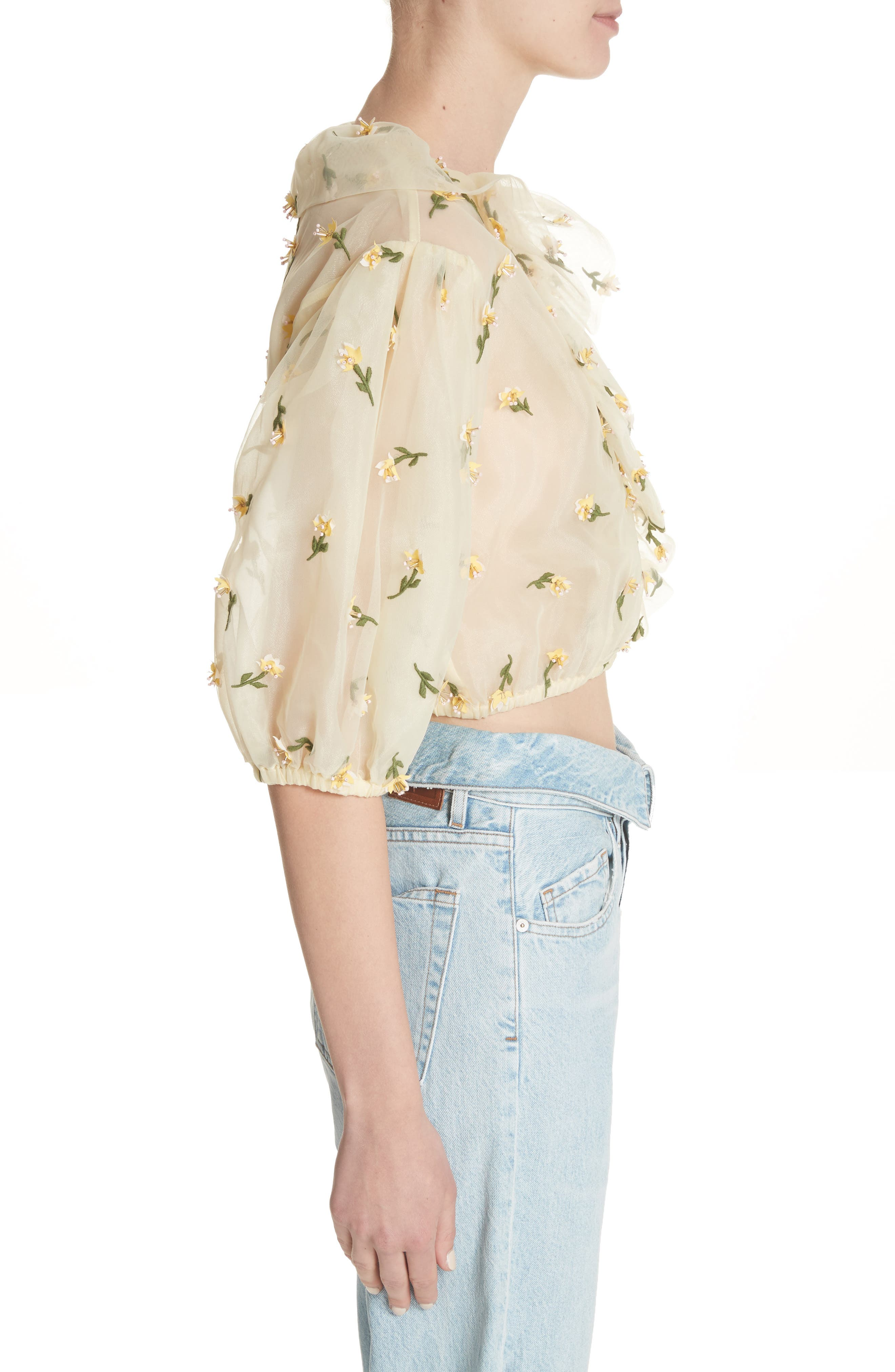 Bliss Embroidered Floral Wrap Top,                             Alternate thumbnail 3, color,