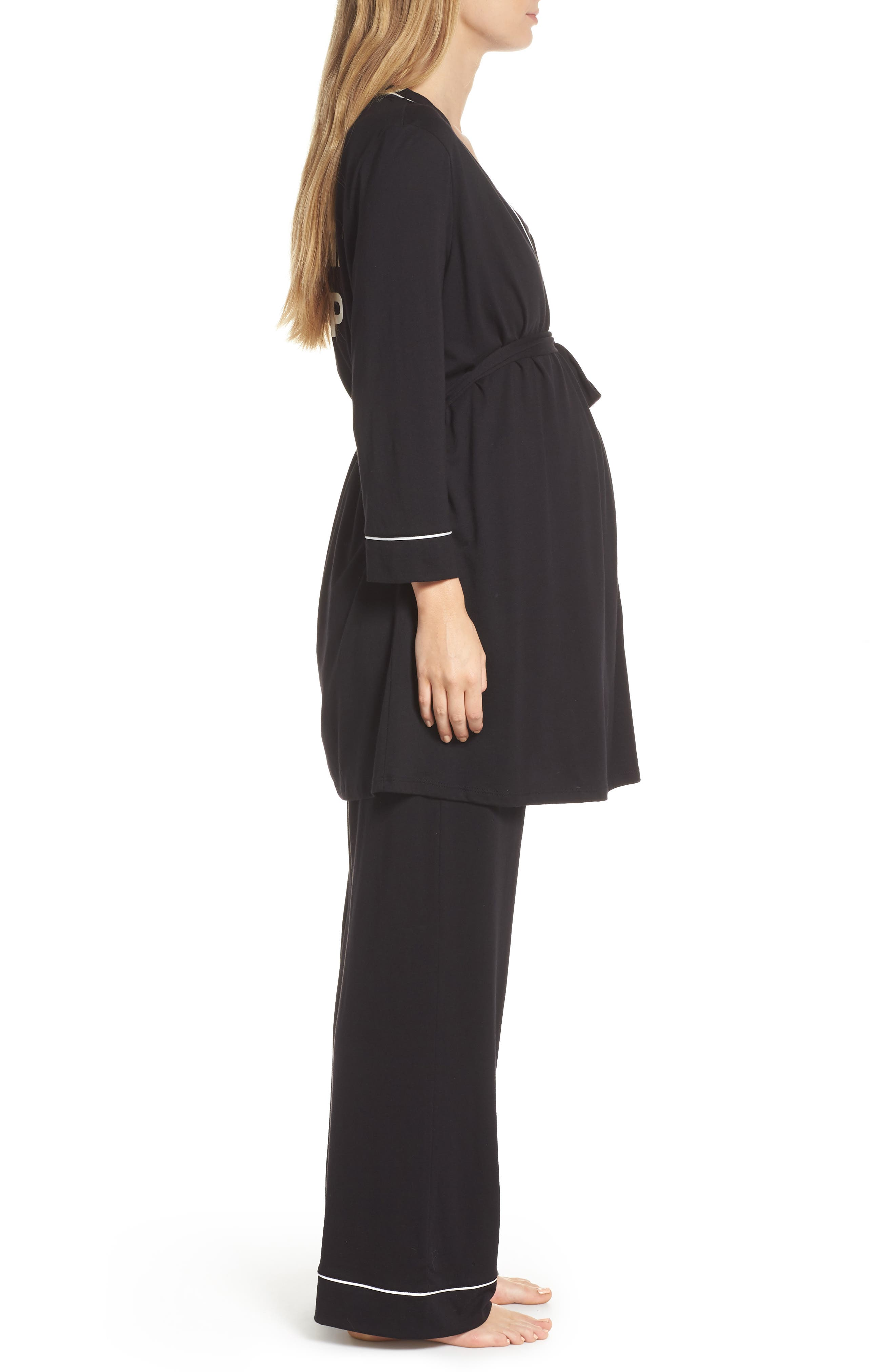 Let Me Sleep Maternity/Nursing Pajamas & Robe Set,                             Alternate thumbnail 3, color,                             BLACK/ IVORY