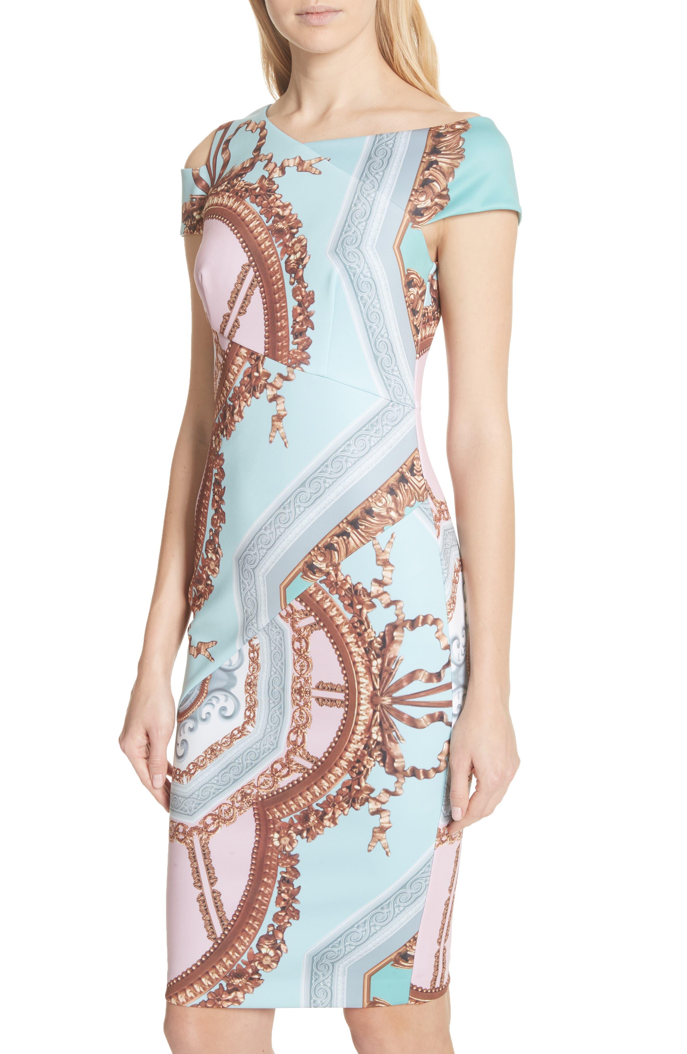 Versailles Print Body-Con Dress,                             Alternate thumbnail 8, color,