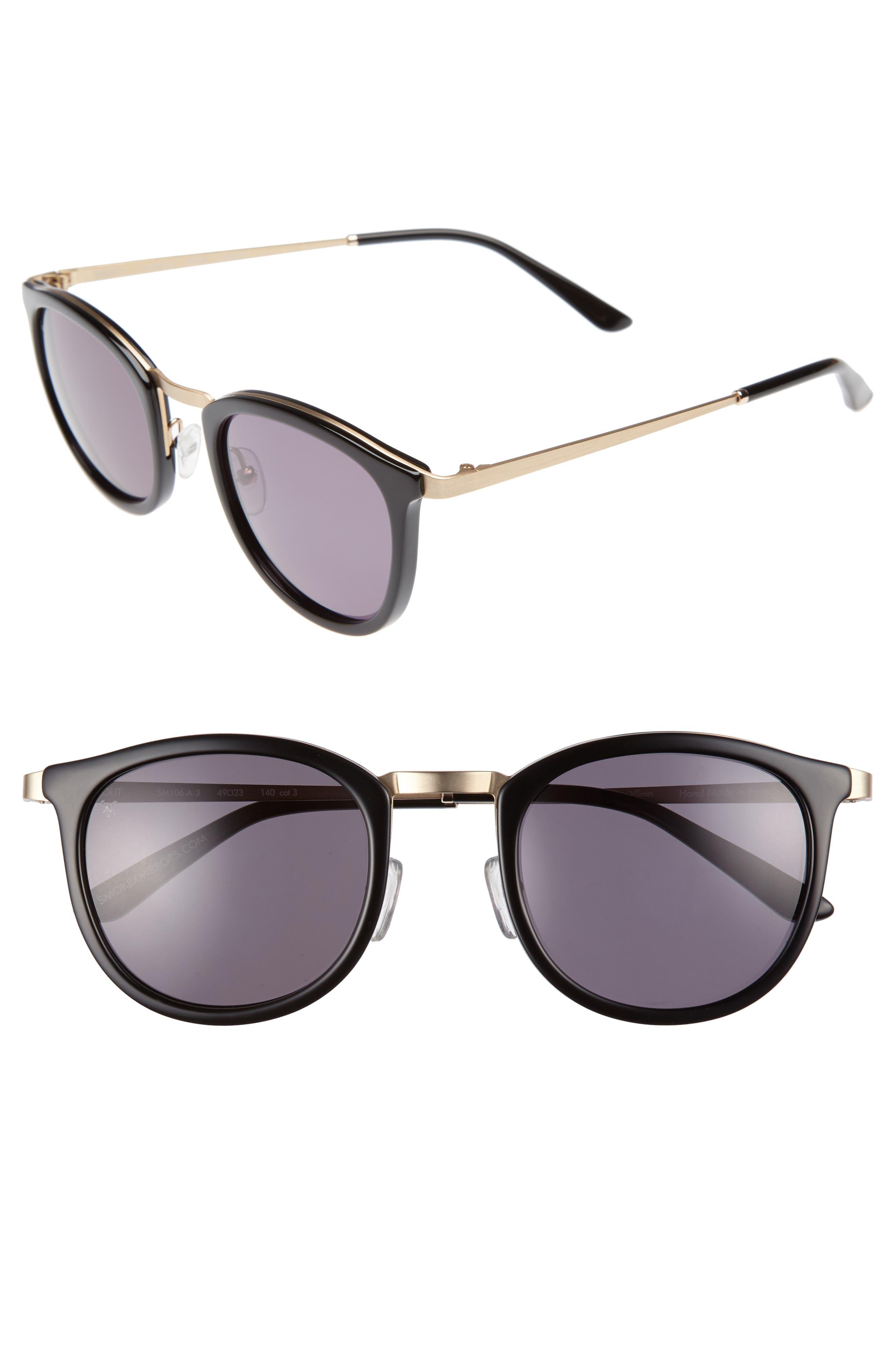 Shout 49mm Retro Sunglasses,                             Main thumbnail 1, color,                             BLACK/ GREY