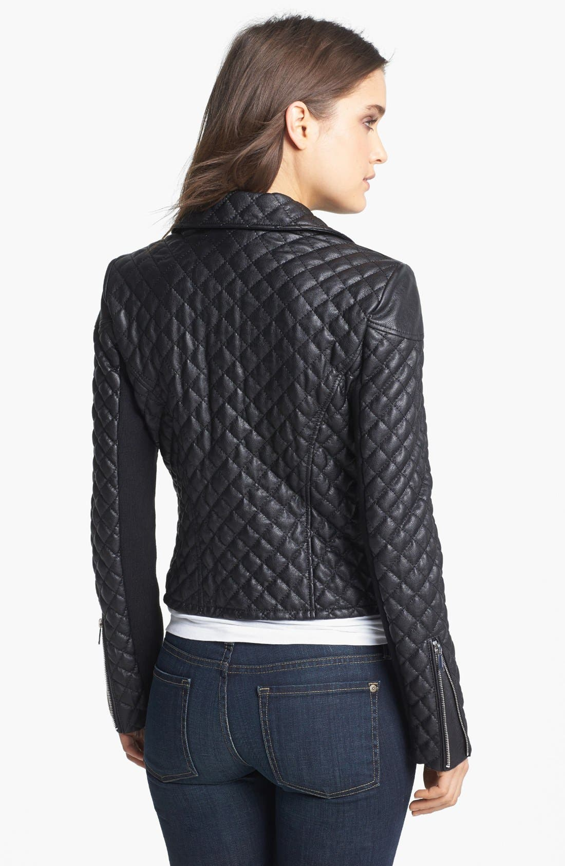 Quilted Faux Leather Moto Jacket,                             Alternate thumbnail 2, color,                             001