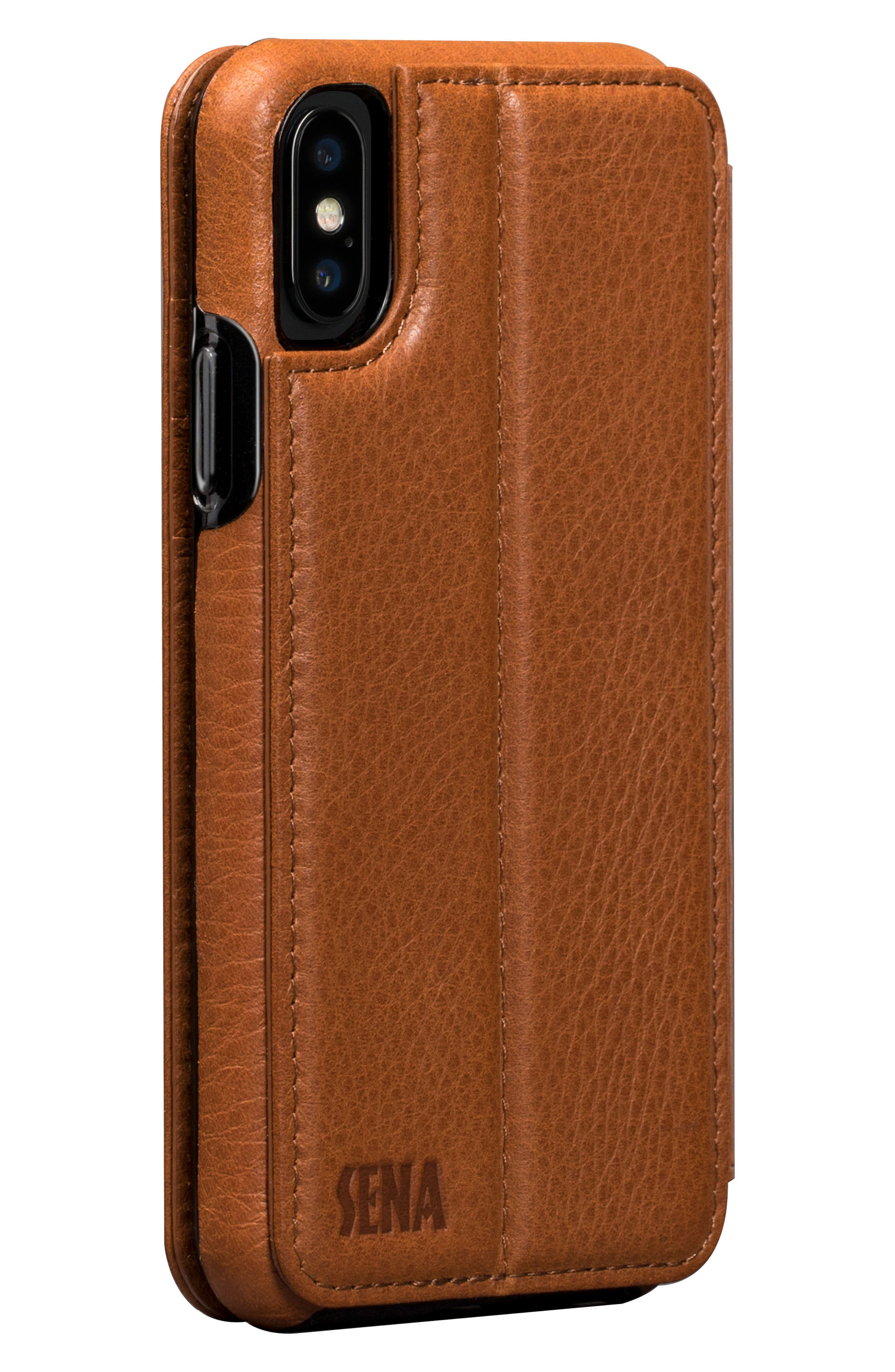 Bence iPhone X & Xs Walletbook,                             Alternate thumbnail 3, color,                             SADDLE