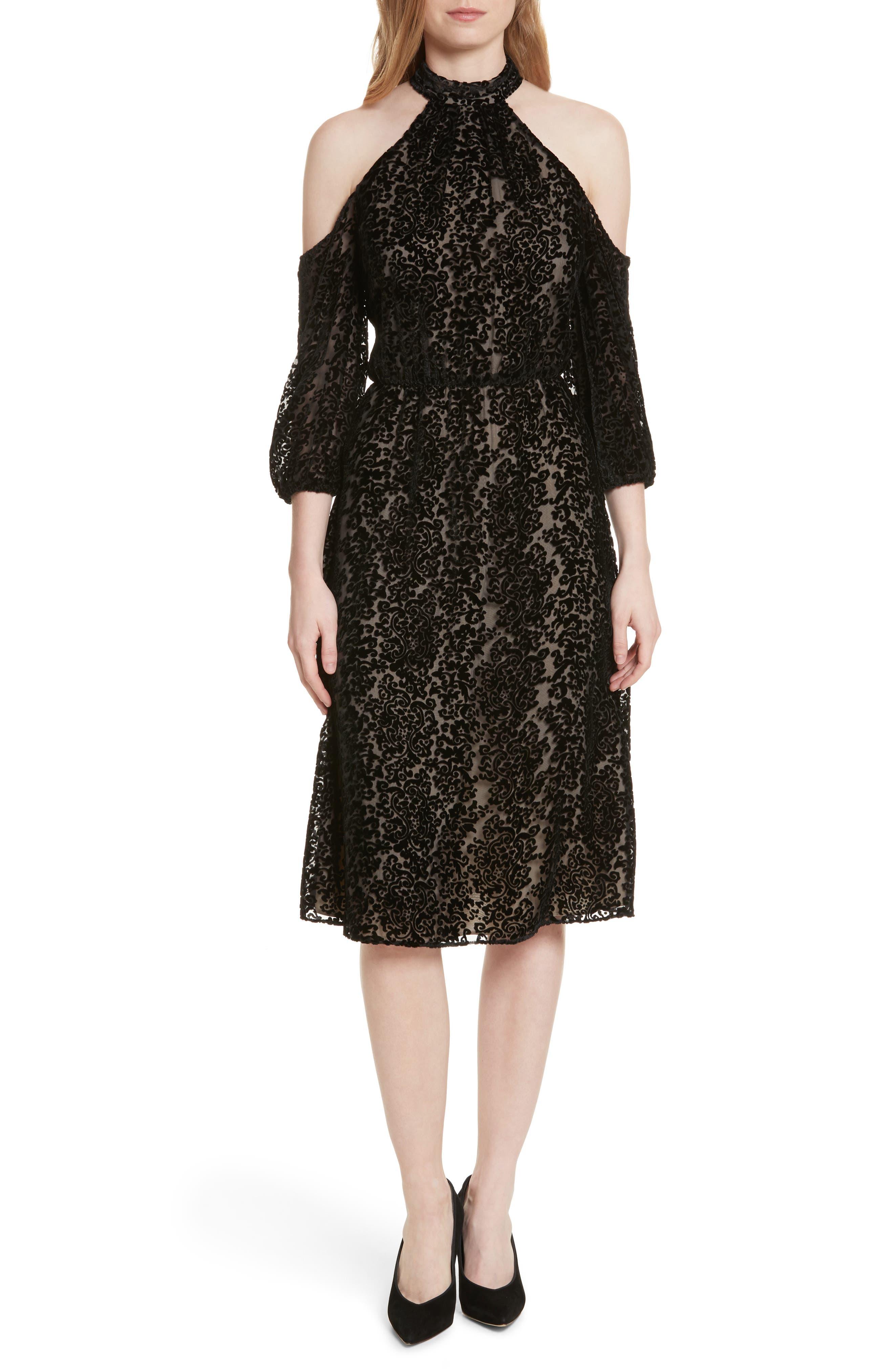Ruthann Cold Shoulder Burnout Velvet Dress,                             Main thumbnail 1, color,                             001