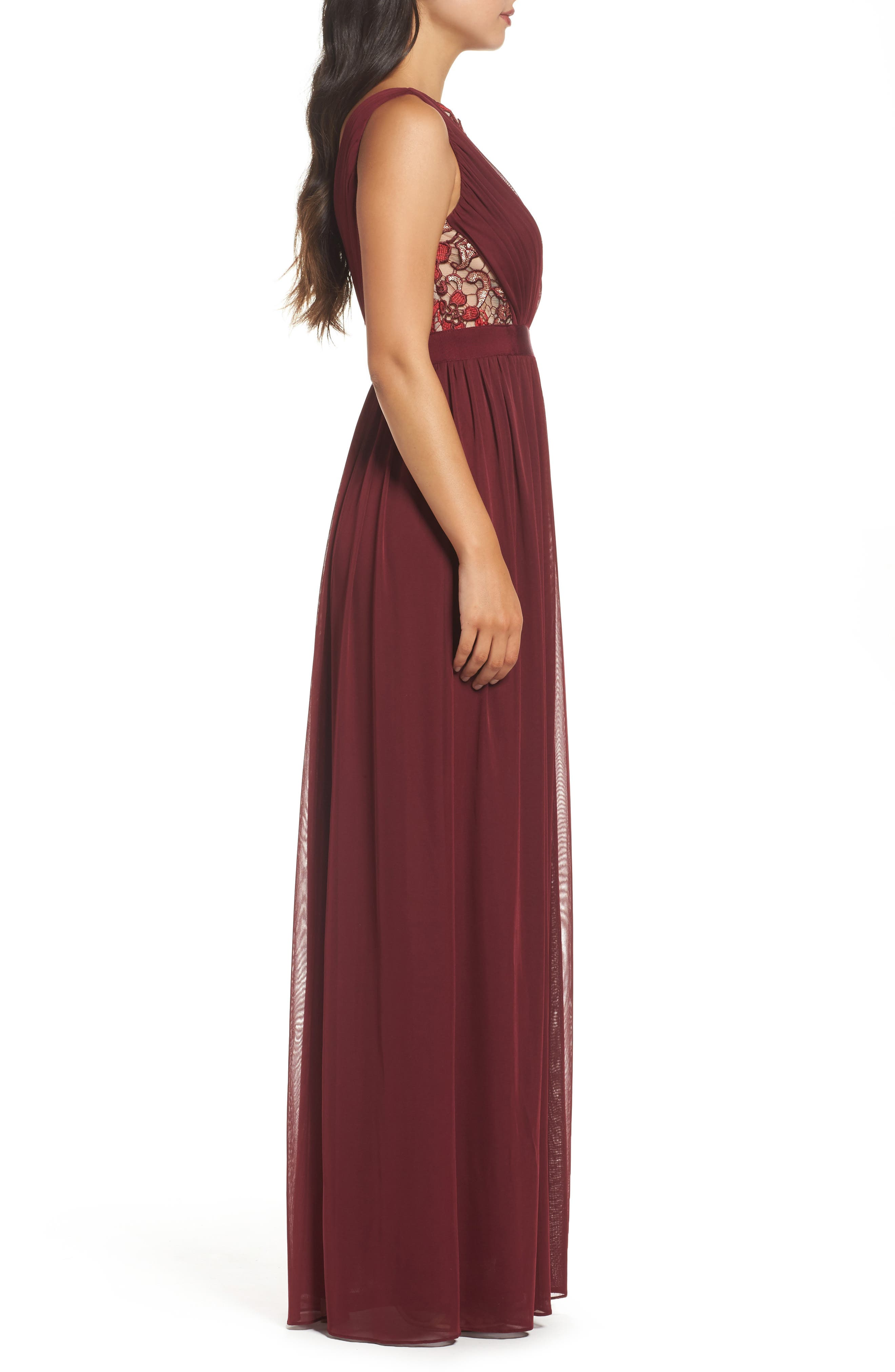 Sequin Lace & Tulle Gown,                             Alternate thumbnail 3, color,                             606