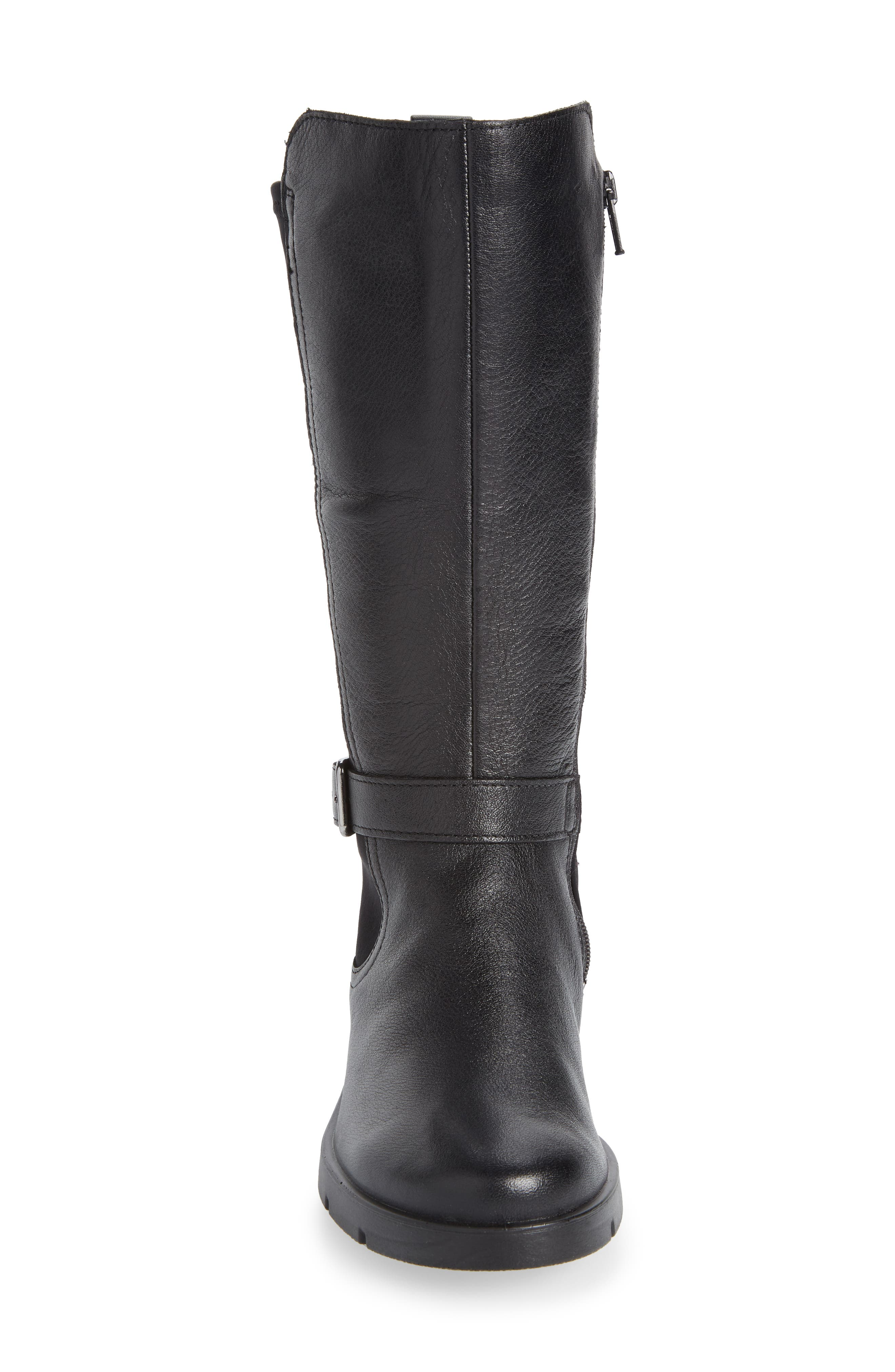 Bella Water Resistant Tall Boot,                             Alternate thumbnail 4, color,                             BLACK LEATHER
