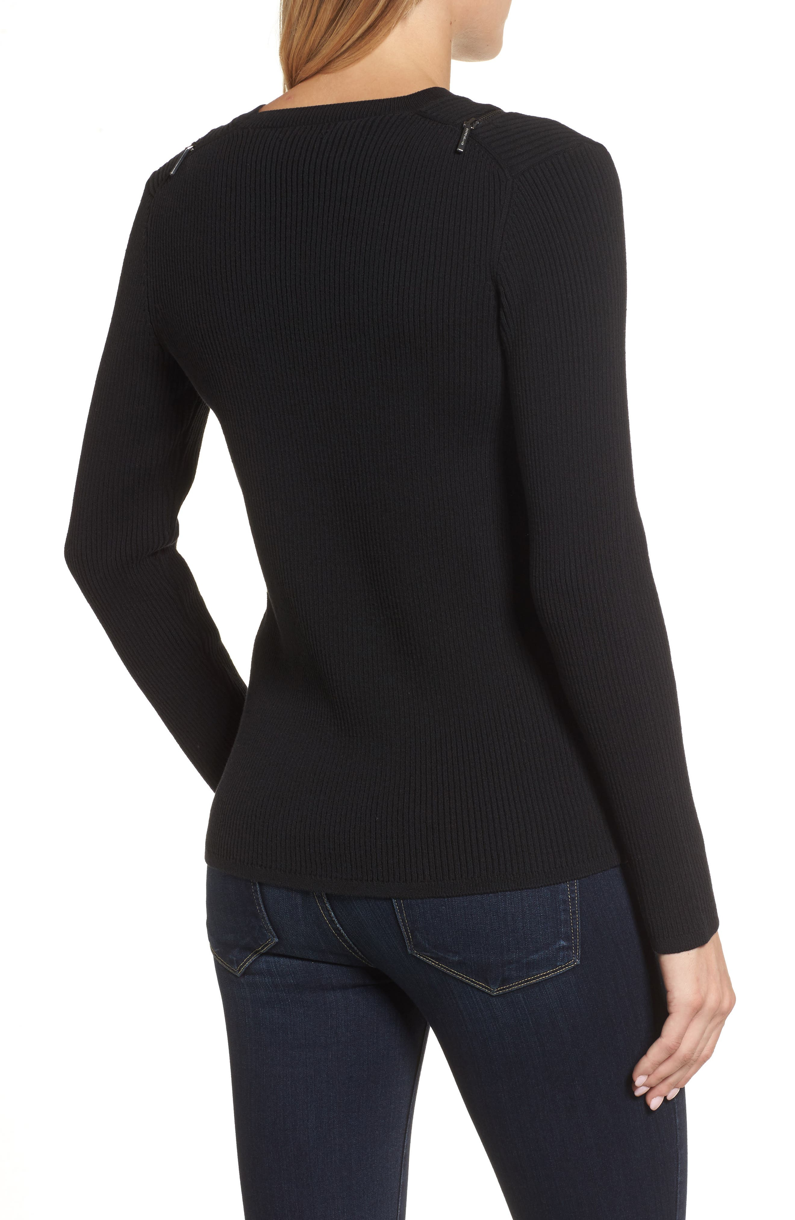 Zip Shoulder Ribbed Sweater,                             Alternate thumbnail 2, color,                             001