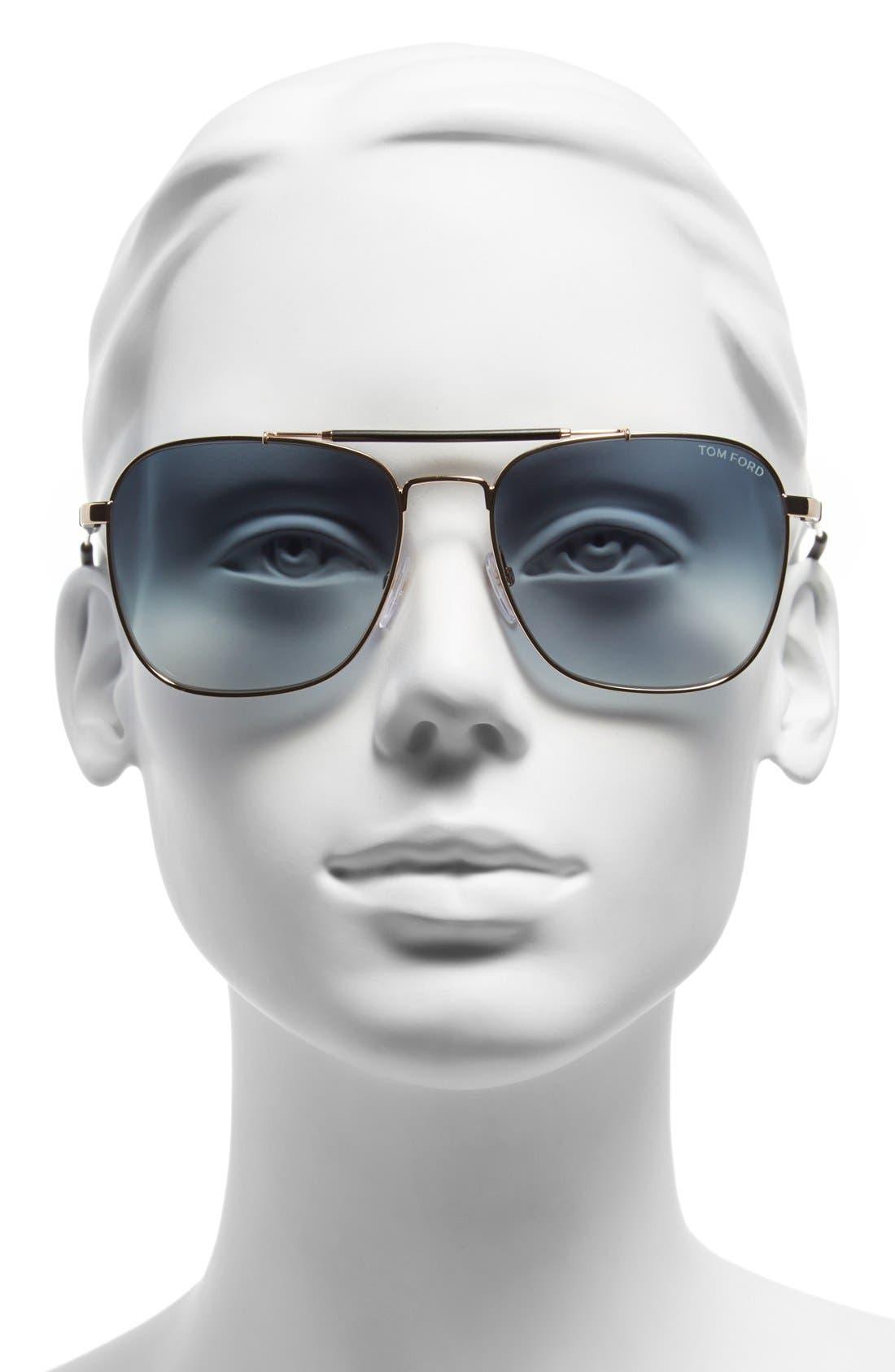 'Edward' 58mm Sunglasses,                             Alternate thumbnail 2, color,                             001