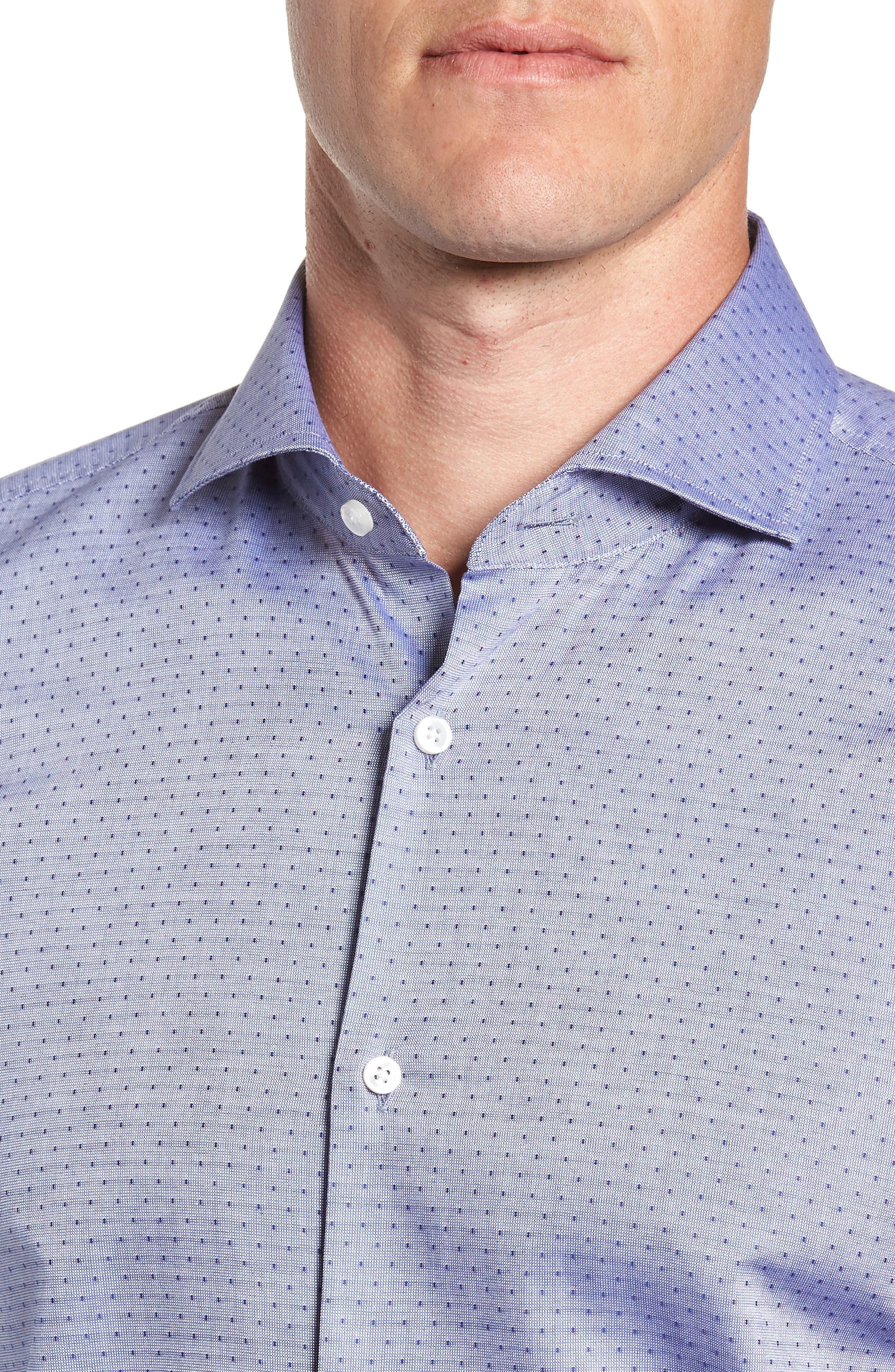 Jason Slim Fit Dot Dress Shirt,                             Alternate thumbnail 2, color,                             NAVY