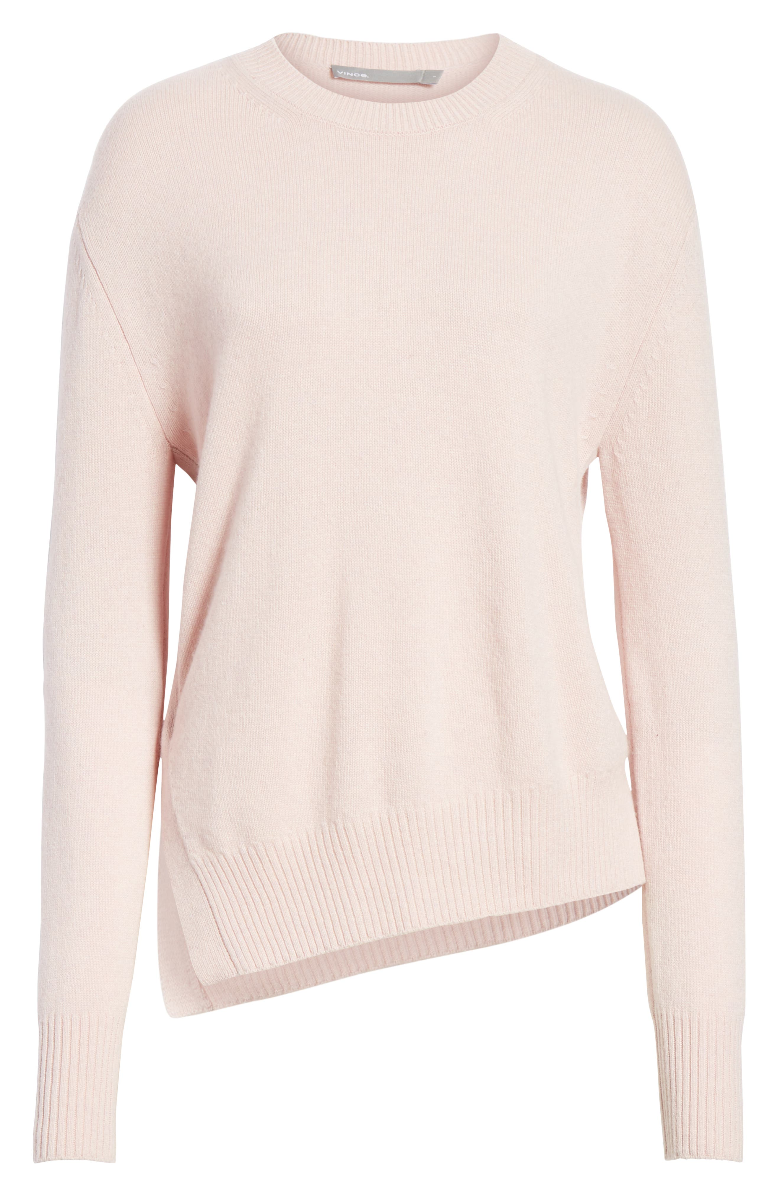 Asymmetrical Cashmere Sweater,                             Alternate thumbnail 6, color,                             CHERRY BLOSSOM