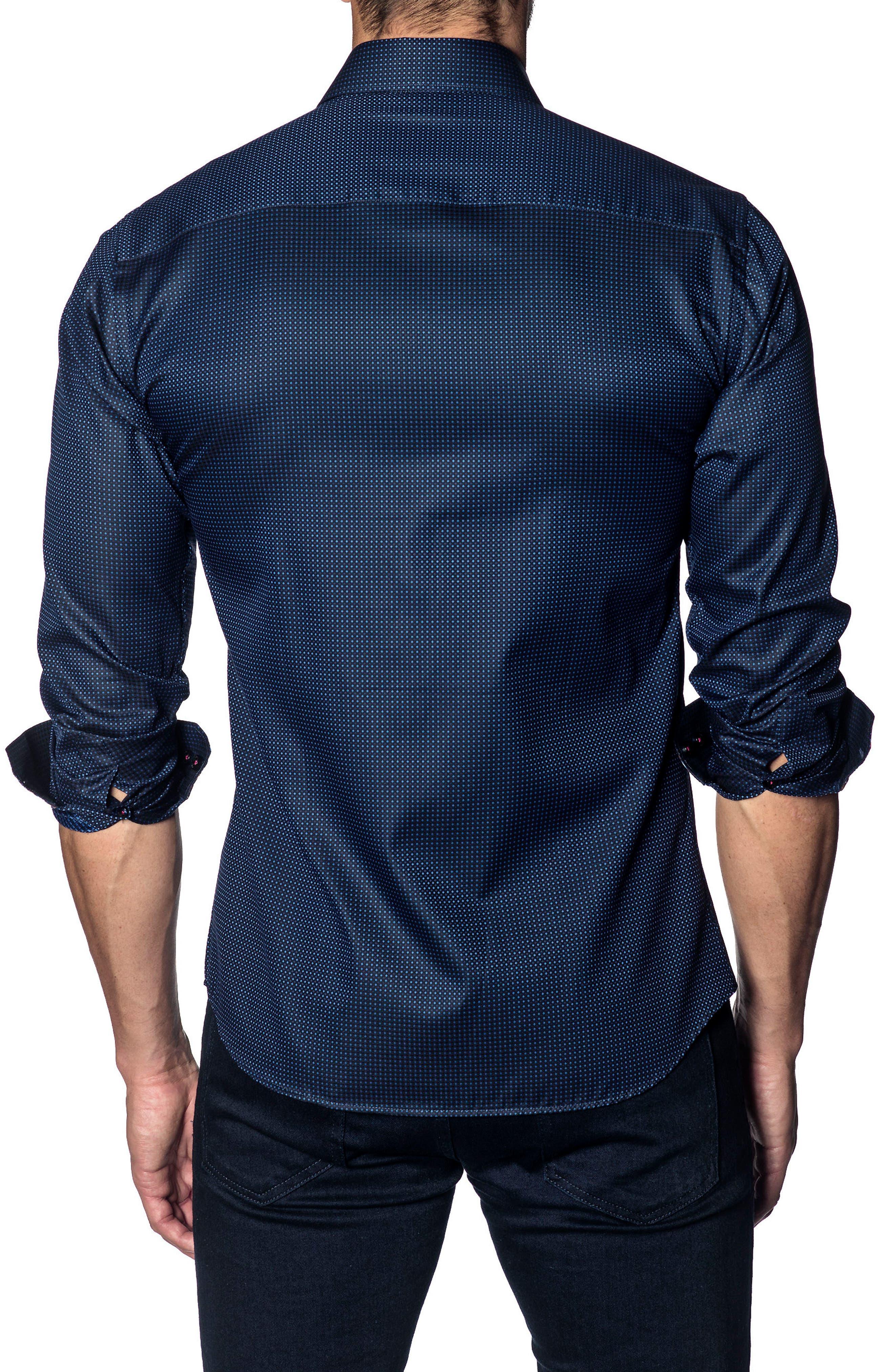 Slim Fit Print Sport Shirt,                             Alternate thumbnail 2, color,                             NAVY PIN POINT