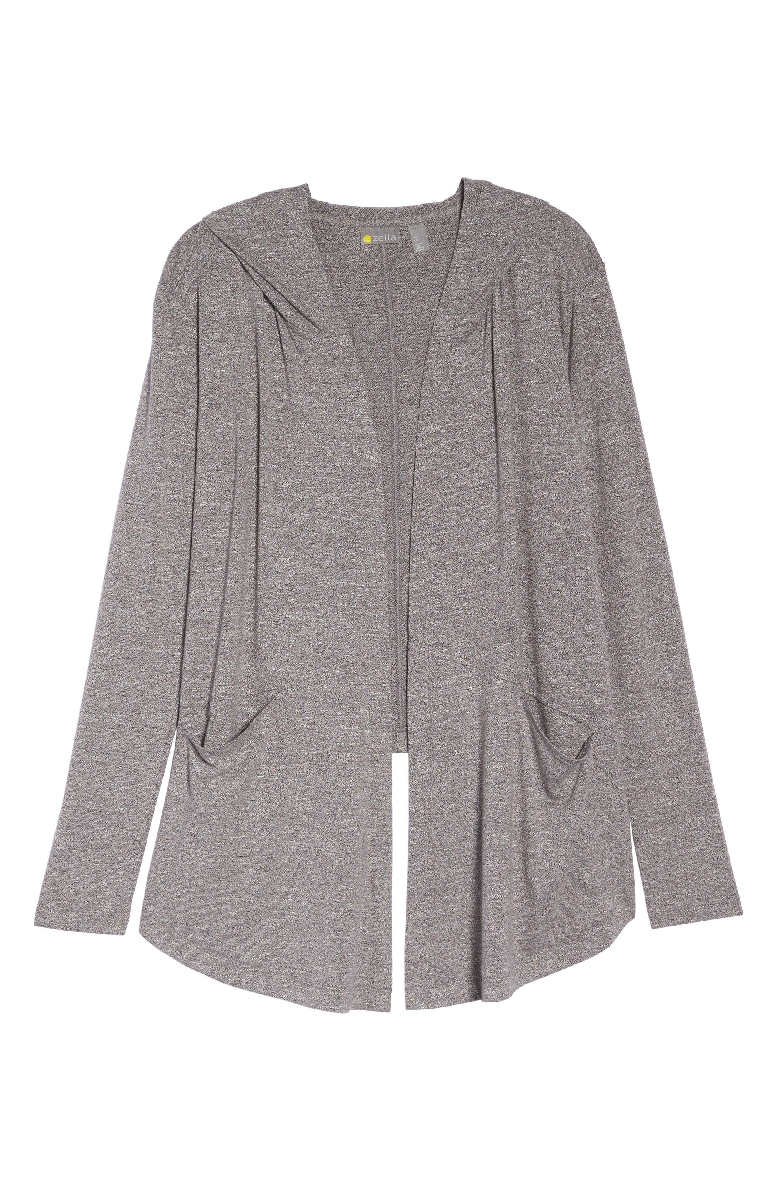 After Class Hooded Cardigan,                             Alternate thumbnail 7, color,                             GREY DARK HEATHER