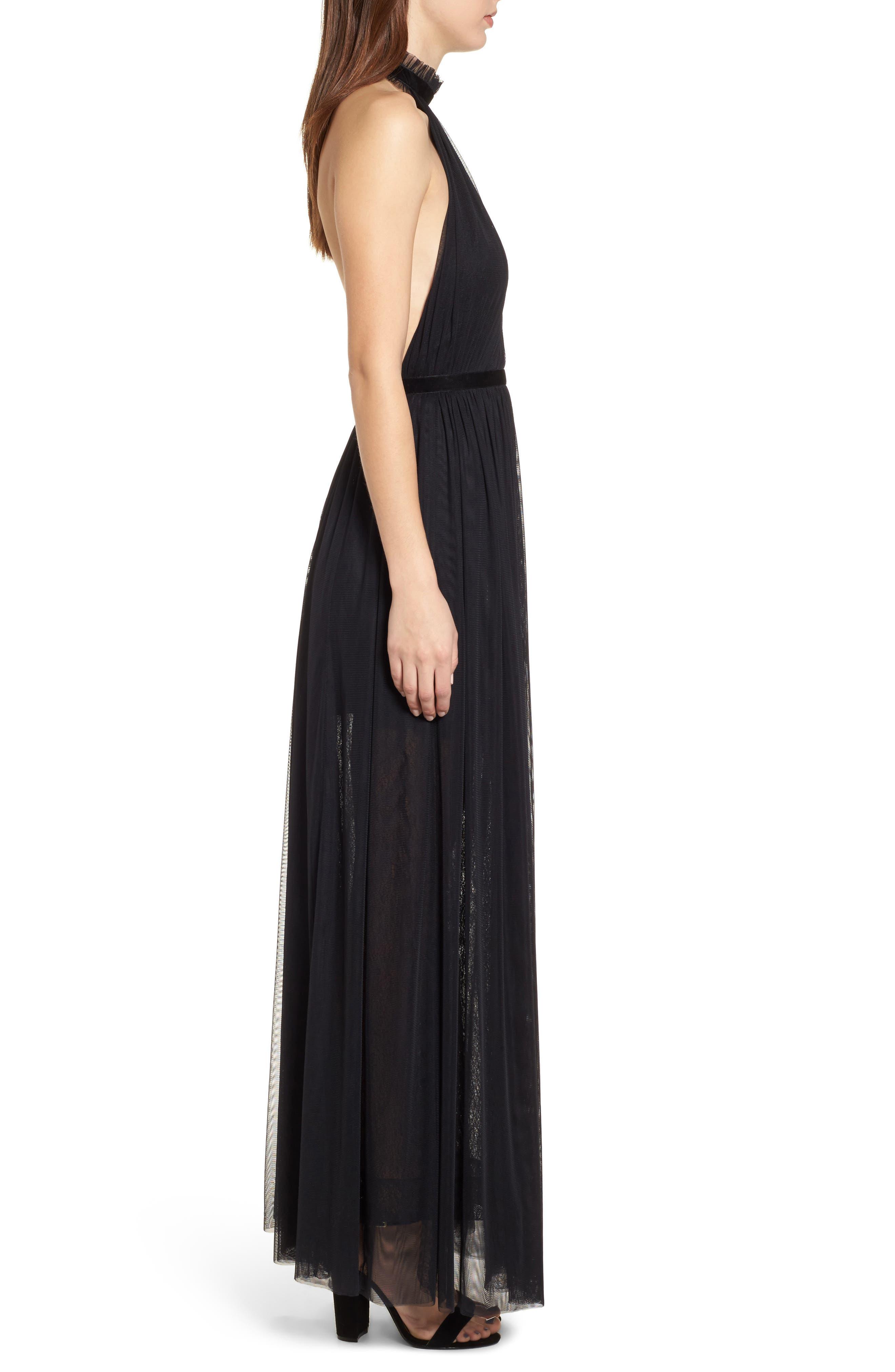 Taylor Halter Maxi Dress,                             Alternate thumbnail 3, color,                             001