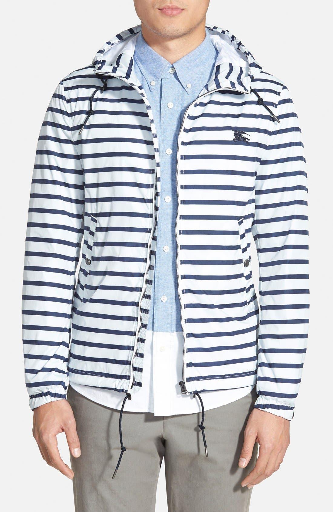 BURBERRY,                             Brit 'Kelson' Stripe Jacket,                             Main thumbnail 1, color,                             100