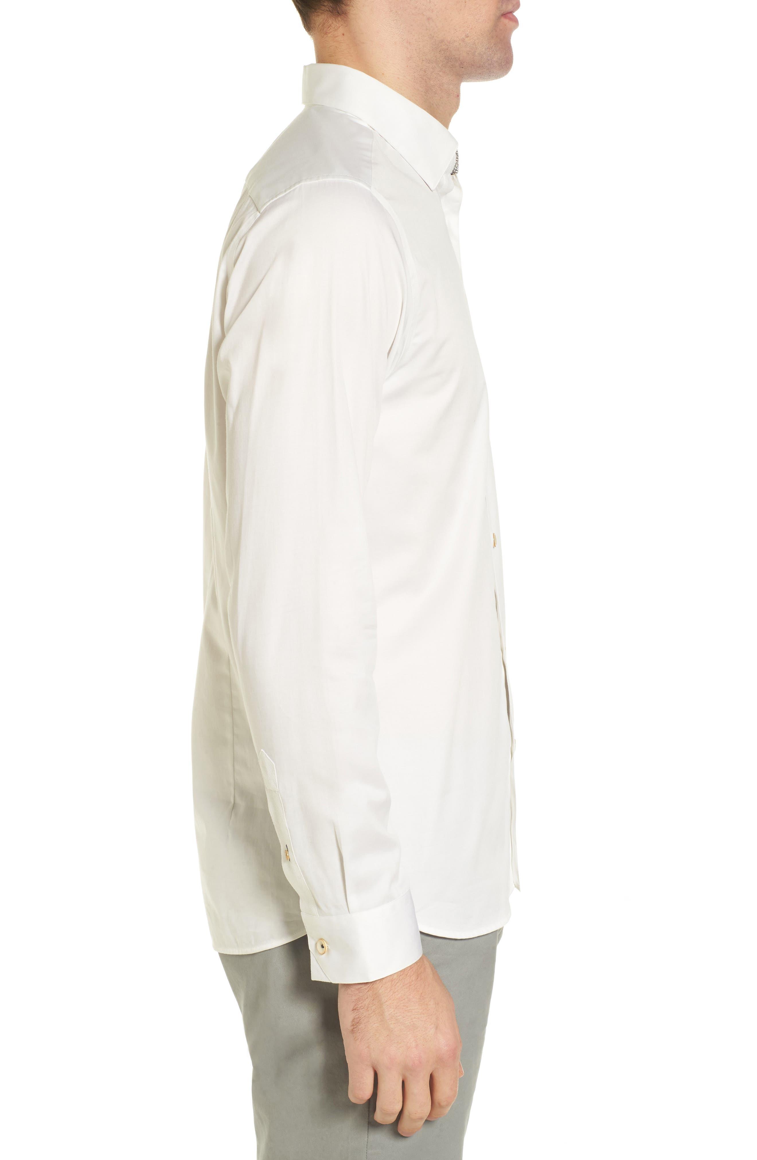 Byllytt Extra Slim Fit Stretch Solid Sport Shirt,                             Alternate thumbnail 3, color,                             100