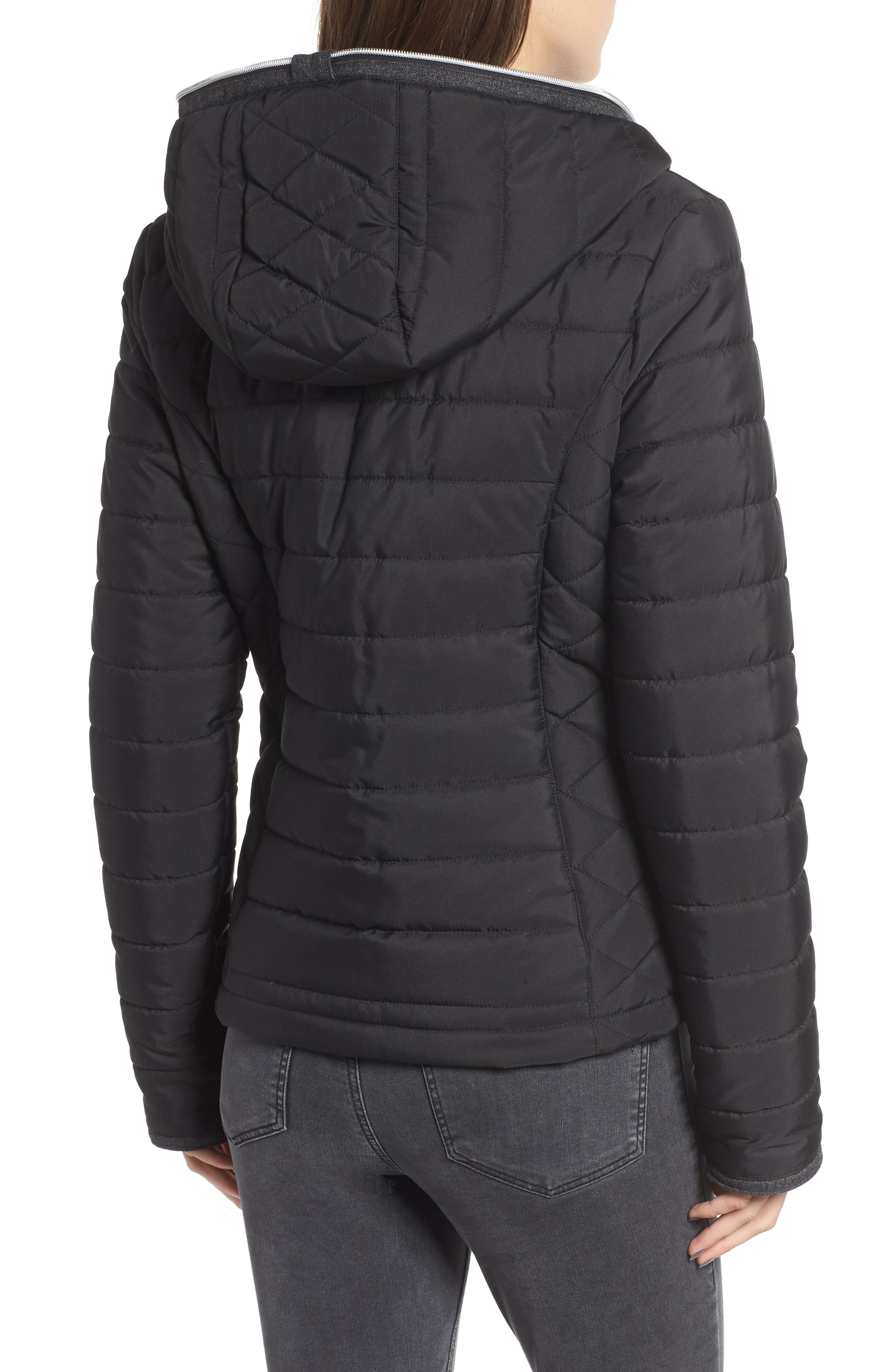 Hooded Quilted Jacket,                             Alternate thumbnail 2, color,                             BLACK