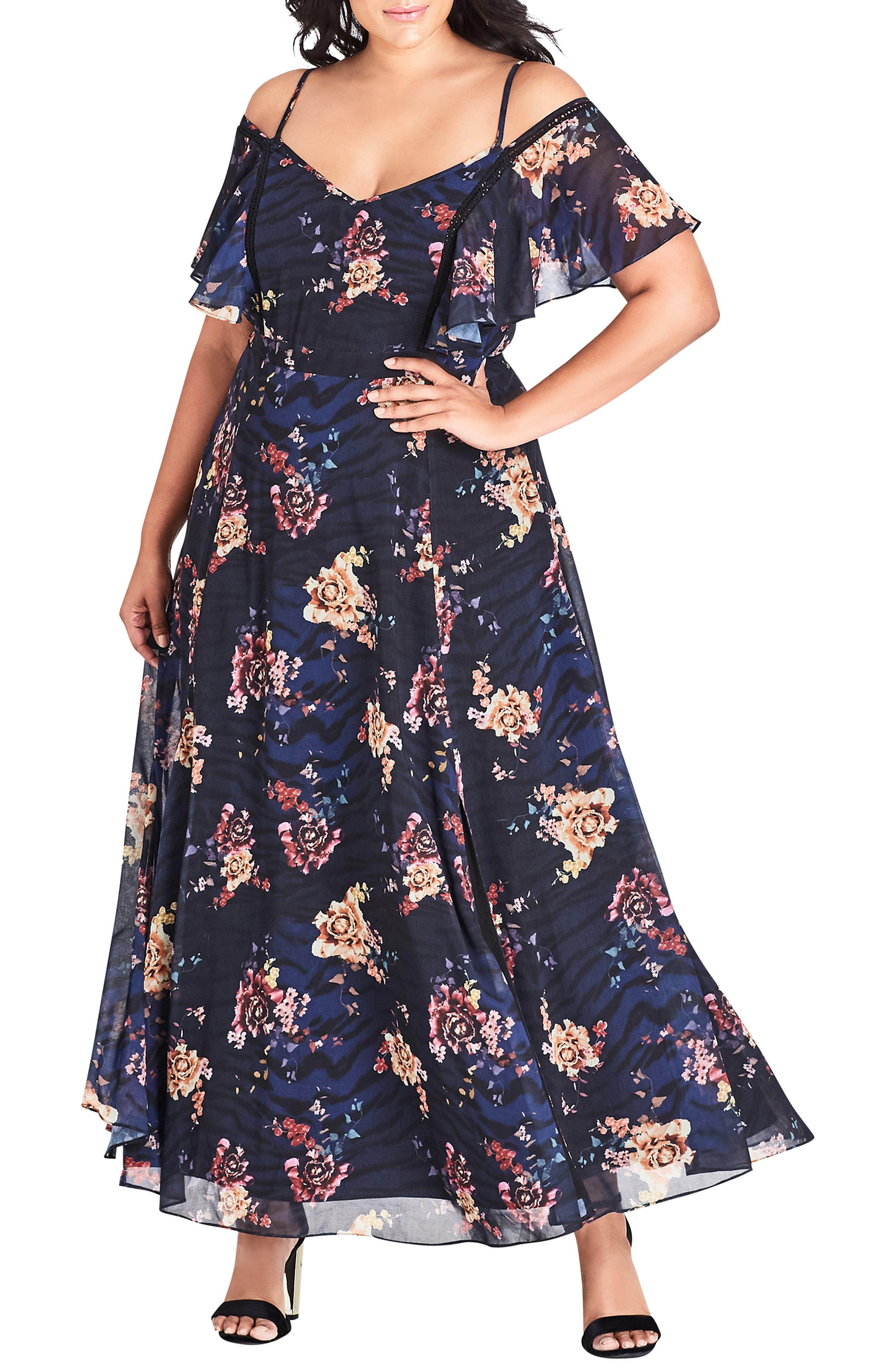 Plus Size City Chic Desert Floral Maxi Dress, Blue