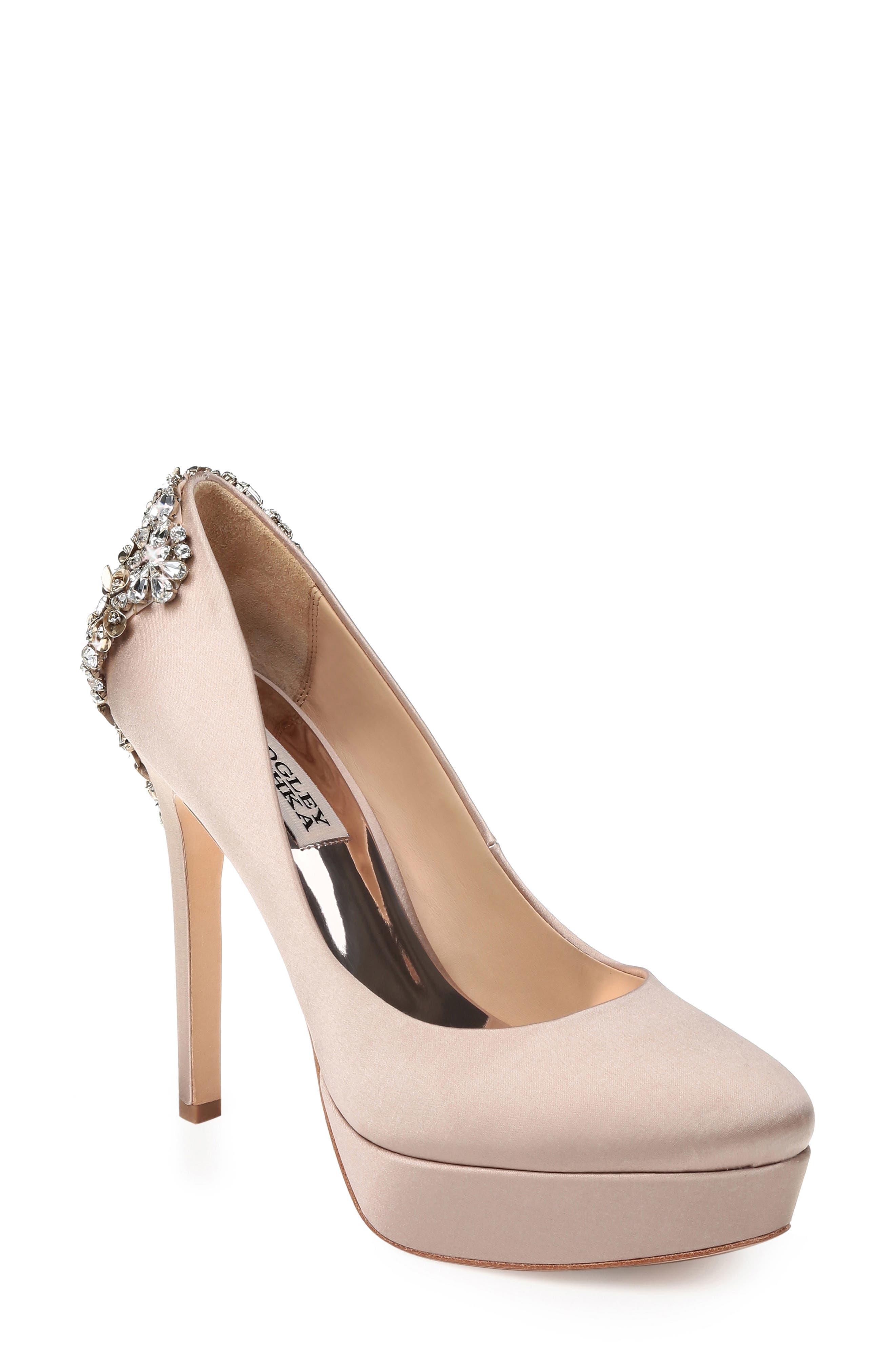 Women'S Viola Almond Toe Embellished Satin Platform High-Heel Pumps in Latte Satin