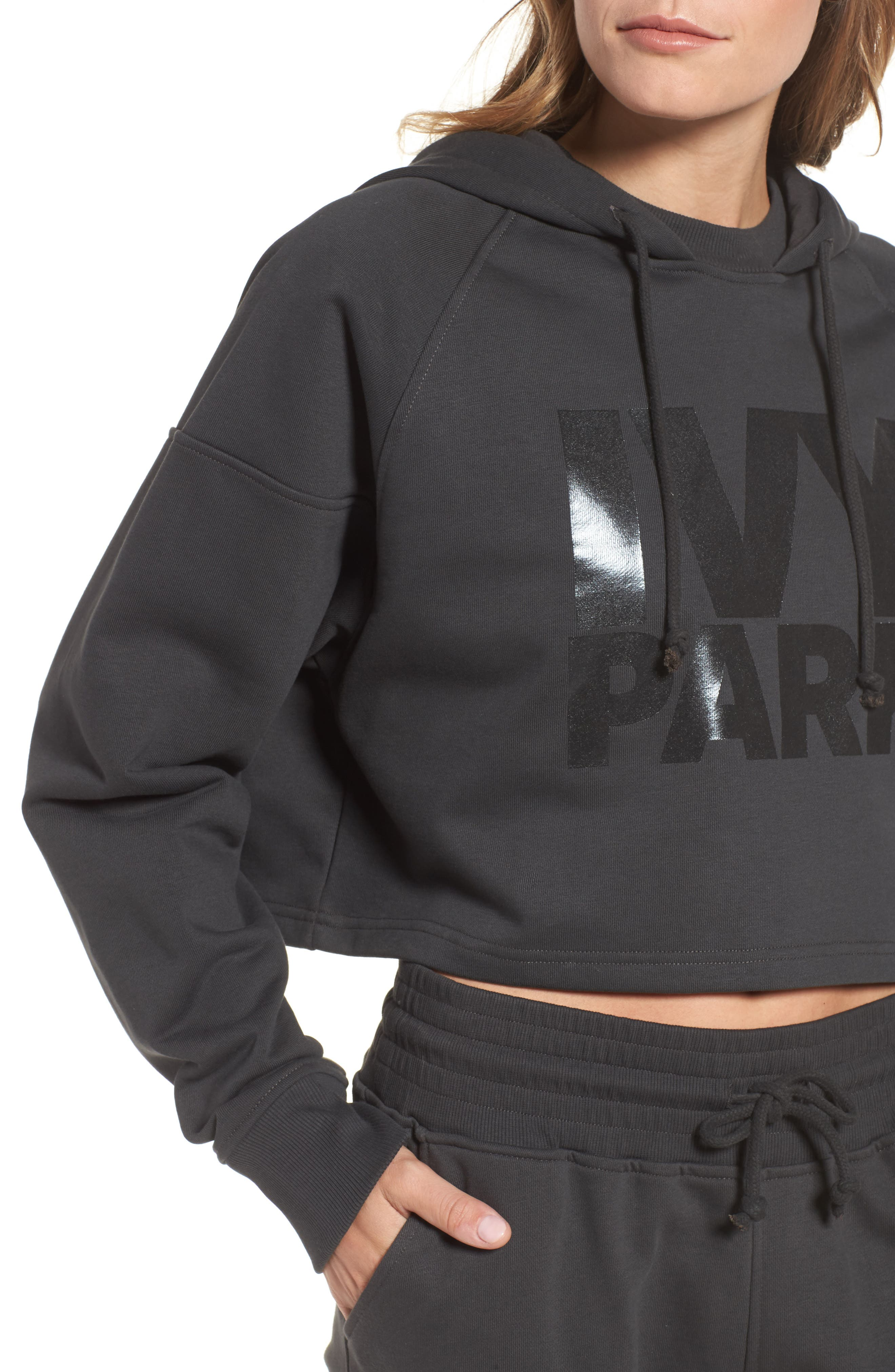 Washed Jersey Logo Crop Hoodie,                             Alternate thumbnail 4, color,                             001