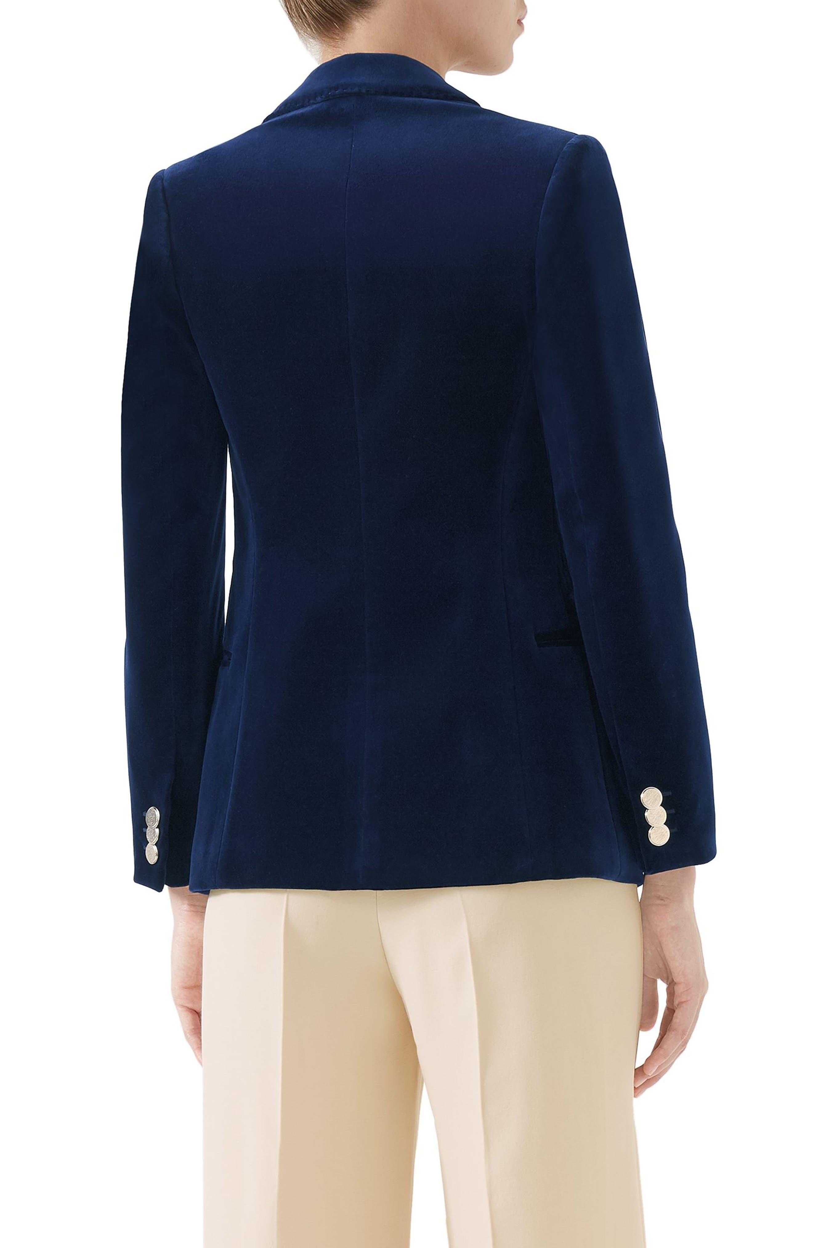 NY Patch Velvet Jacket,                             Alternate thumbnail 2, color,                             BLUE