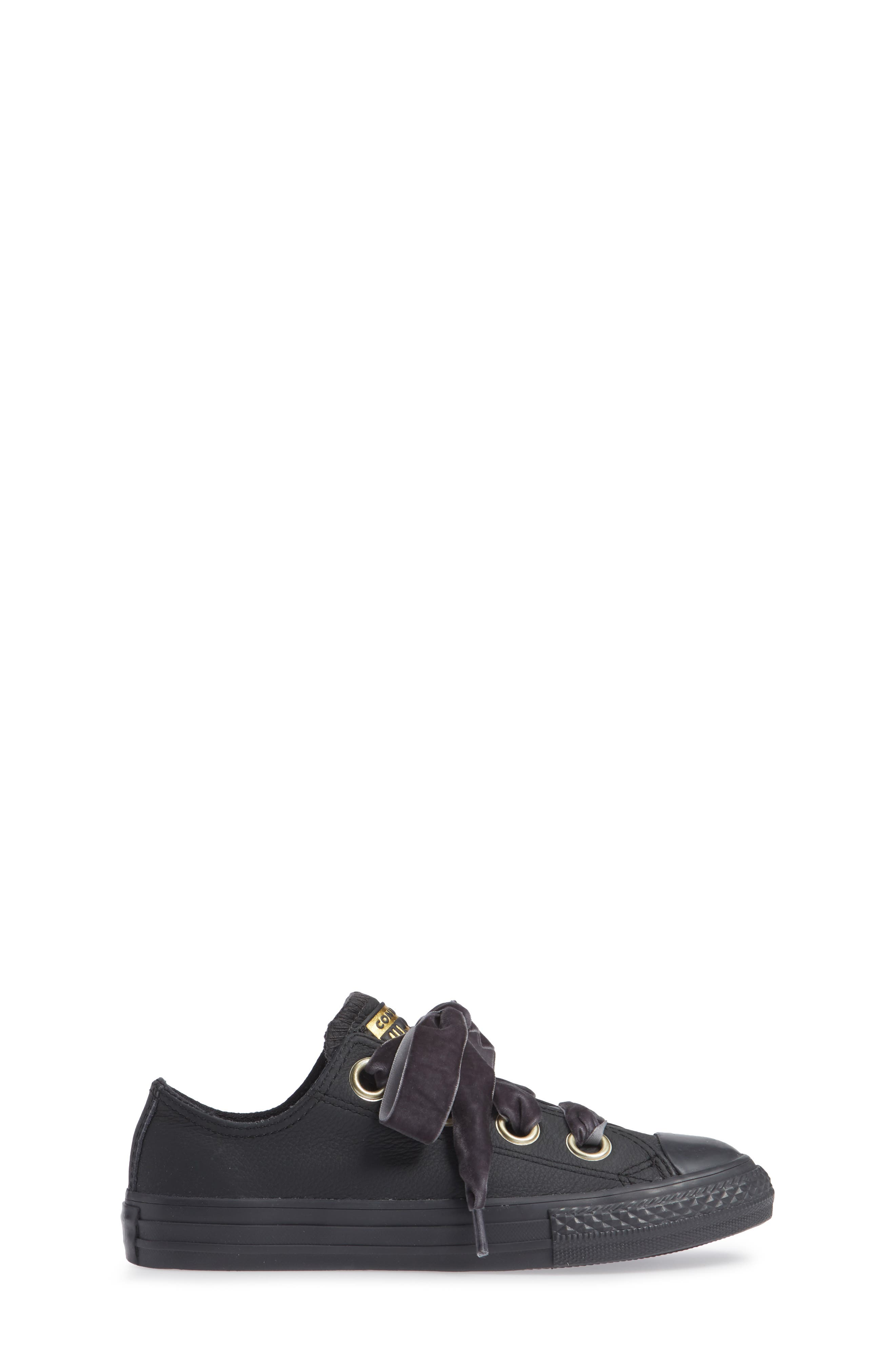 Chuck Taylor<sup>®</sup> All Star<sup>®</sup> Big Eyelet Leather Sneaker,                             Alternate thumbnail 3, color,                             BLACK