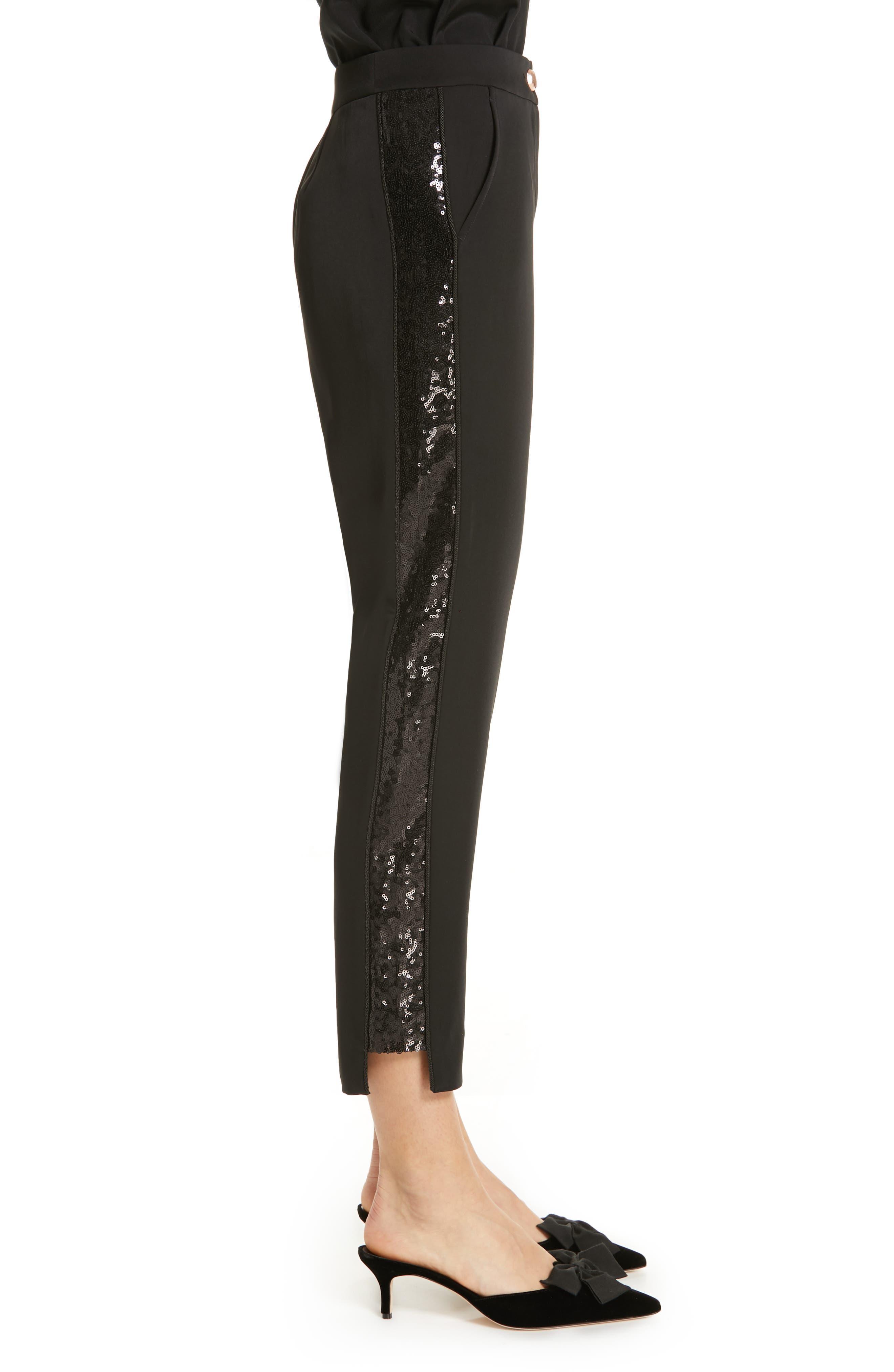 Polliit Sequin Side Panel Pants,                             Alternate thumbnail 3, color,                             BLACK