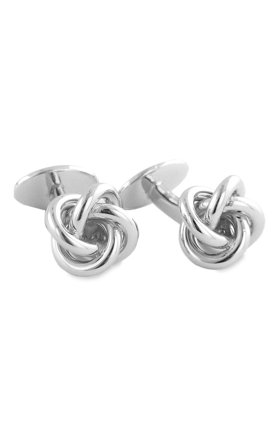 Knot Cuff Links,                         Main,                         color, STERLING SILVER