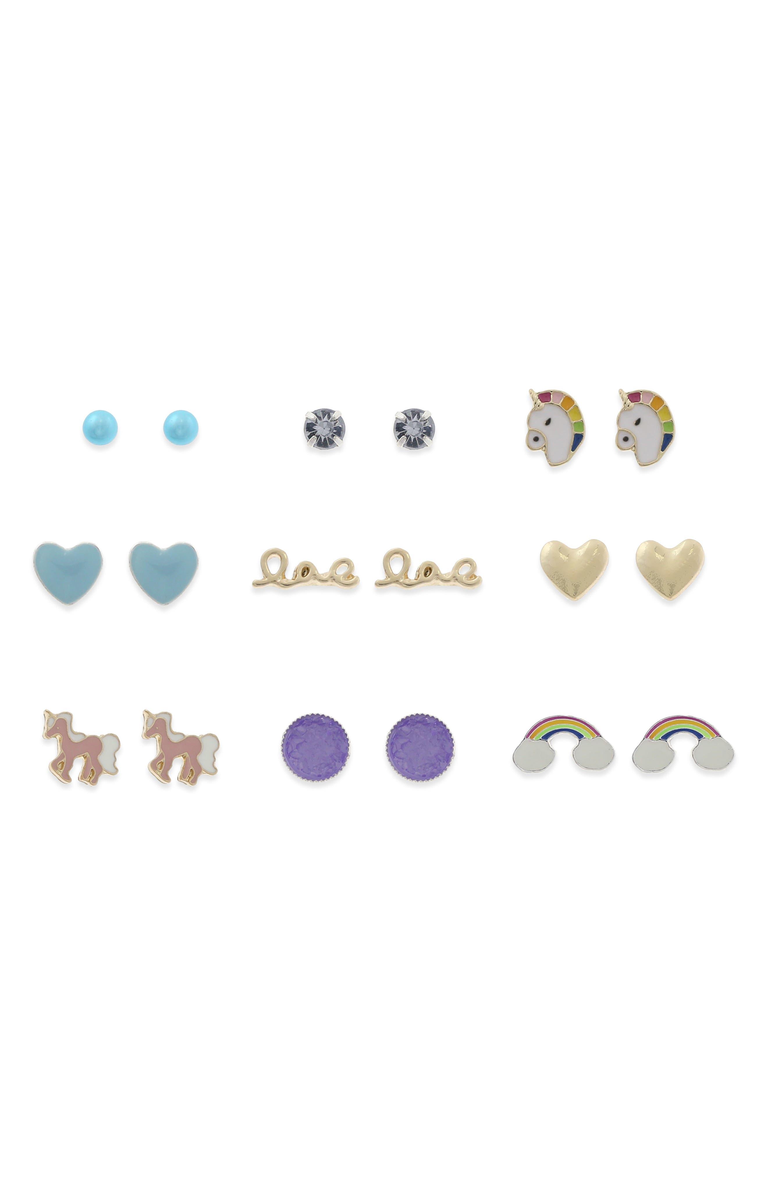Unicorn Cone 9-Pair Earring Set,                             Main thumbnail 1, color,                             500