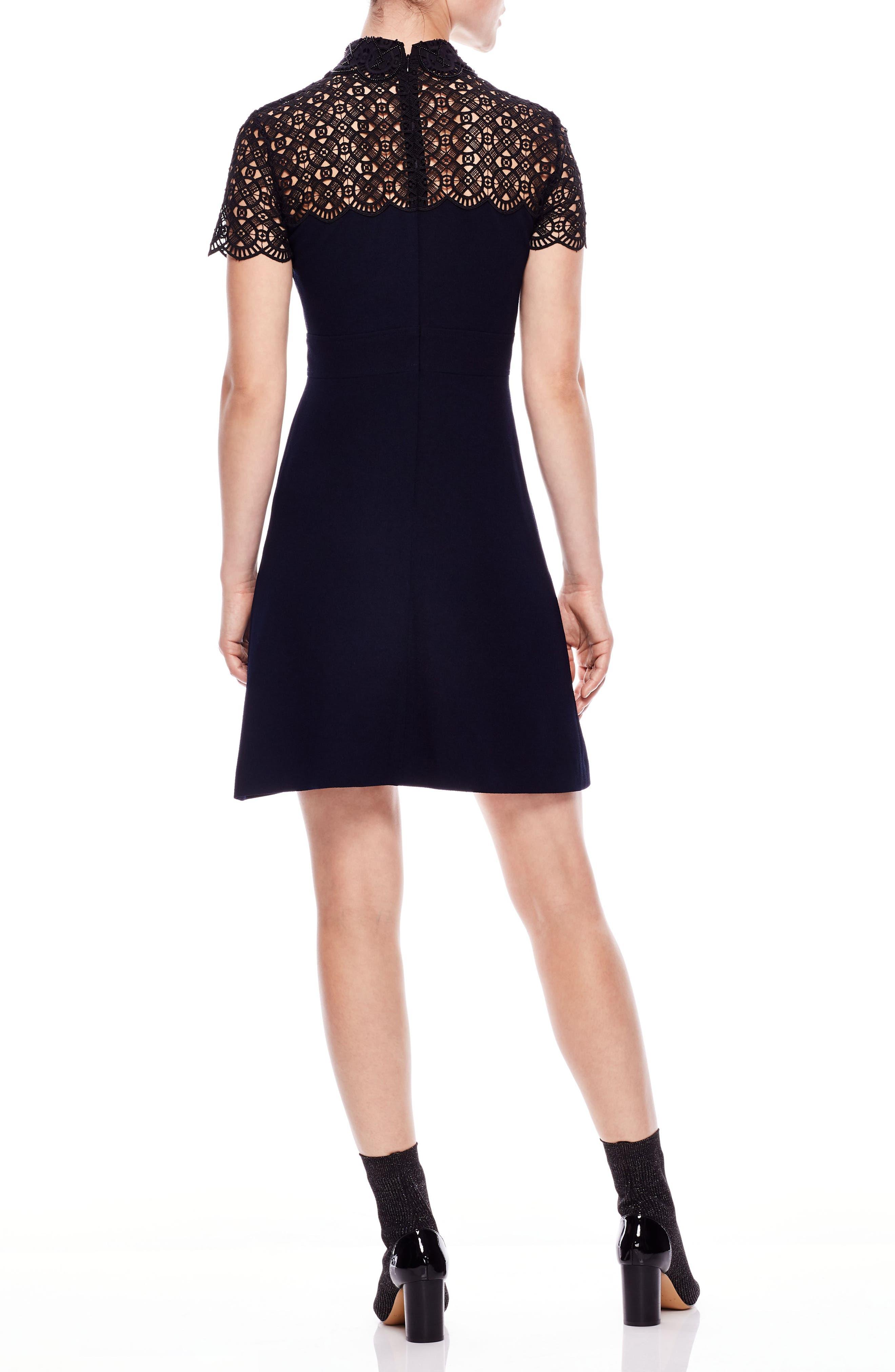 Lace Yoke Bead Detail Dress,                             Alternate thumbnail 2, color,                             DEEP NAVY