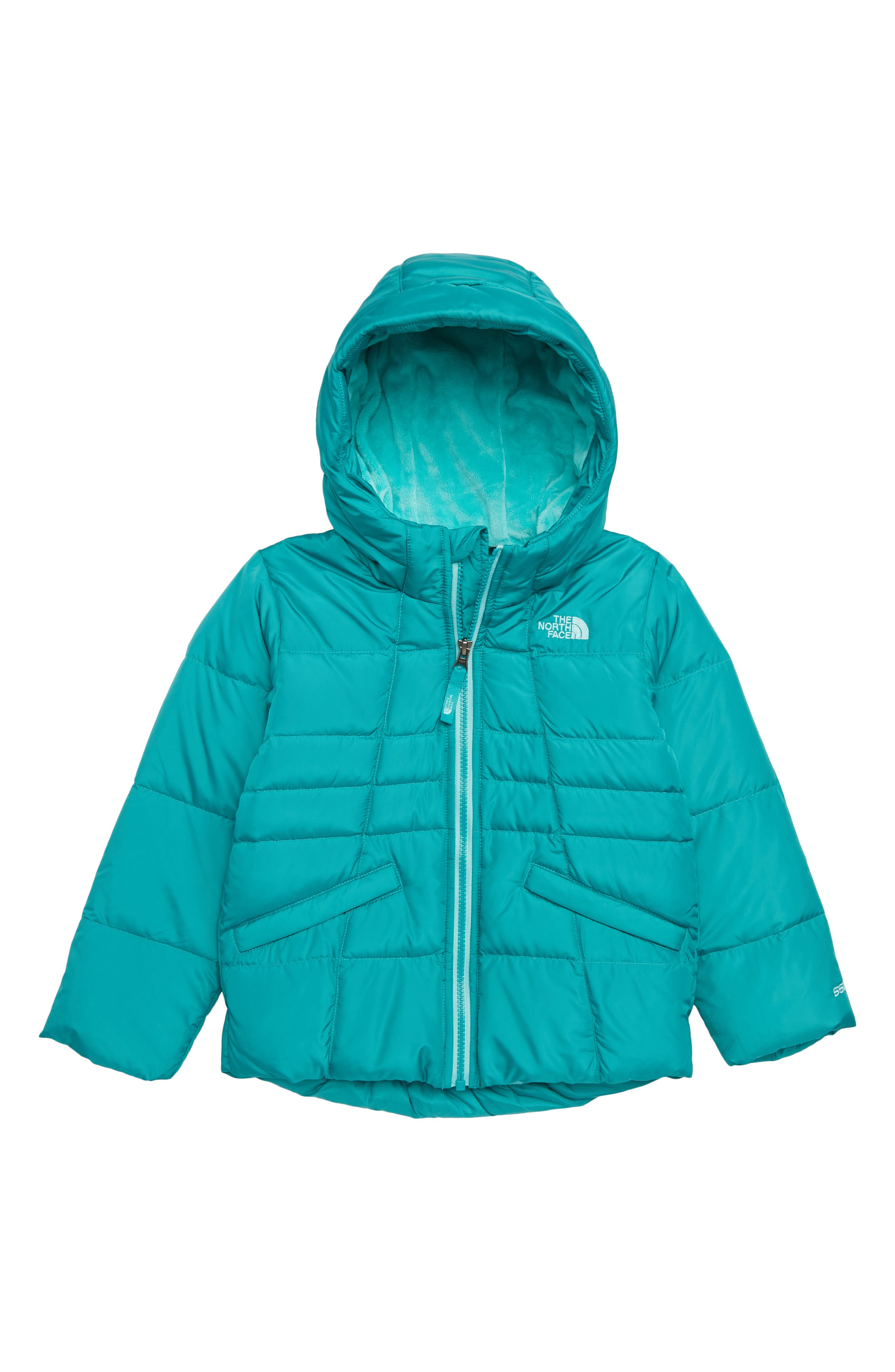Toddler Girls The North Face Moondoggy 20 Water Repellent Down Jacket Size 3T  Bluegreen